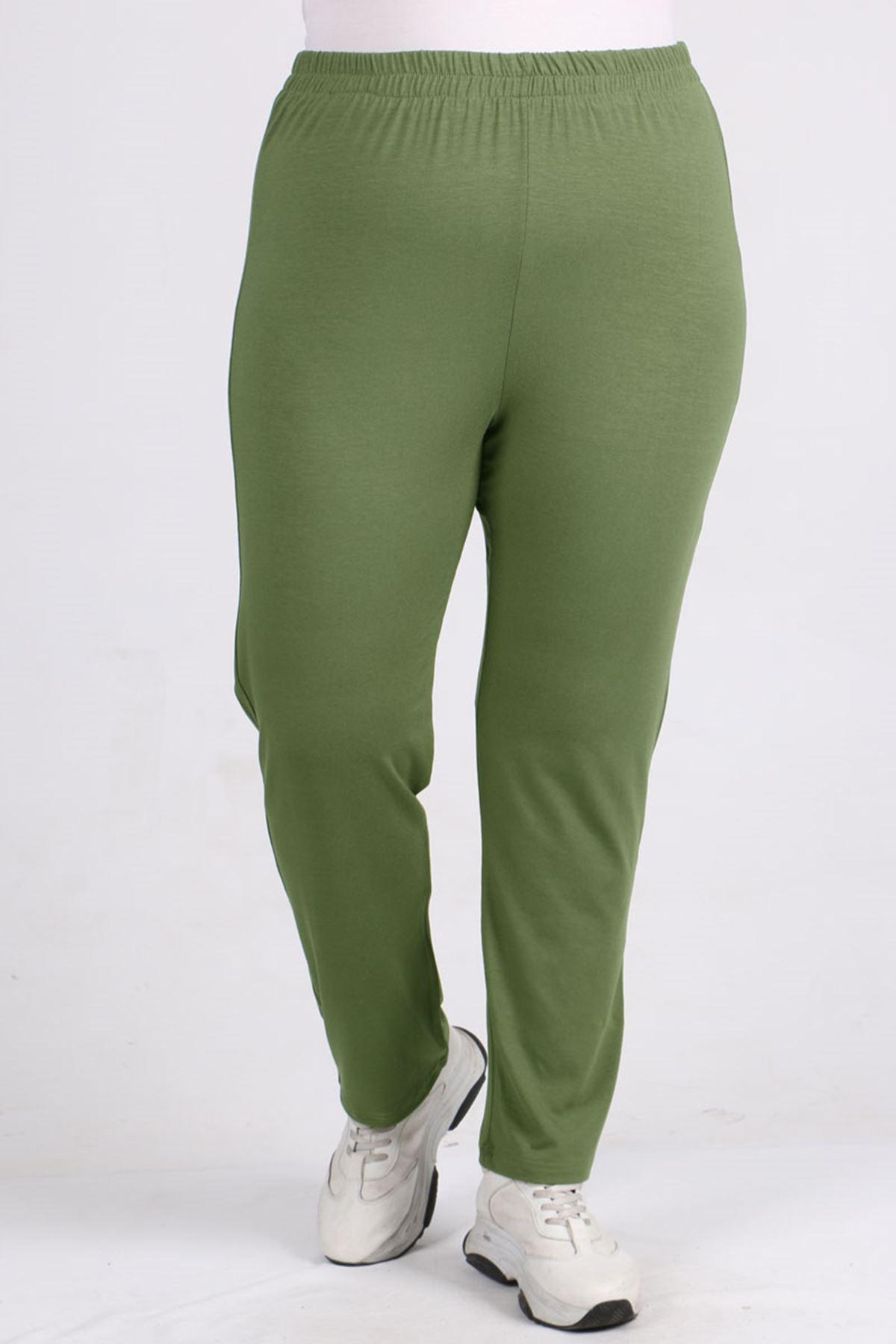9057 Büyük Beden Yüksel Bel Lastikli Penye Pantalon - Yeşil