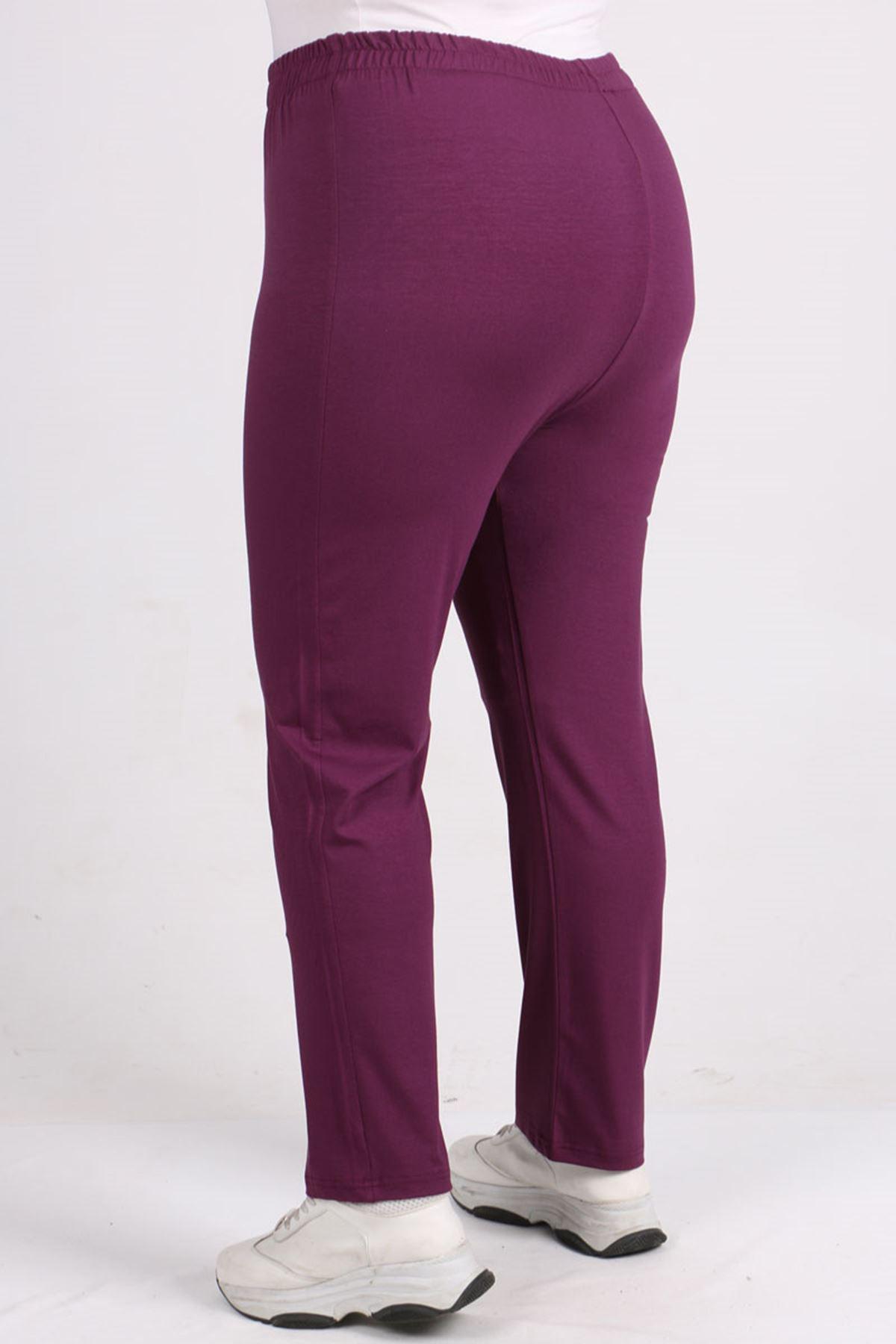 9057 Plus Size High Waist Elastic Pants - Lilac