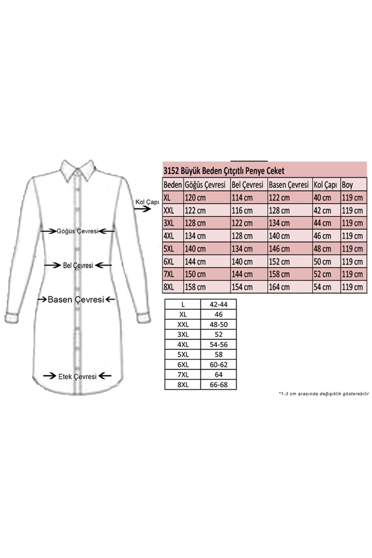 3152 Büyük Beden Çıtçıtlı Penye Ceket - Haki