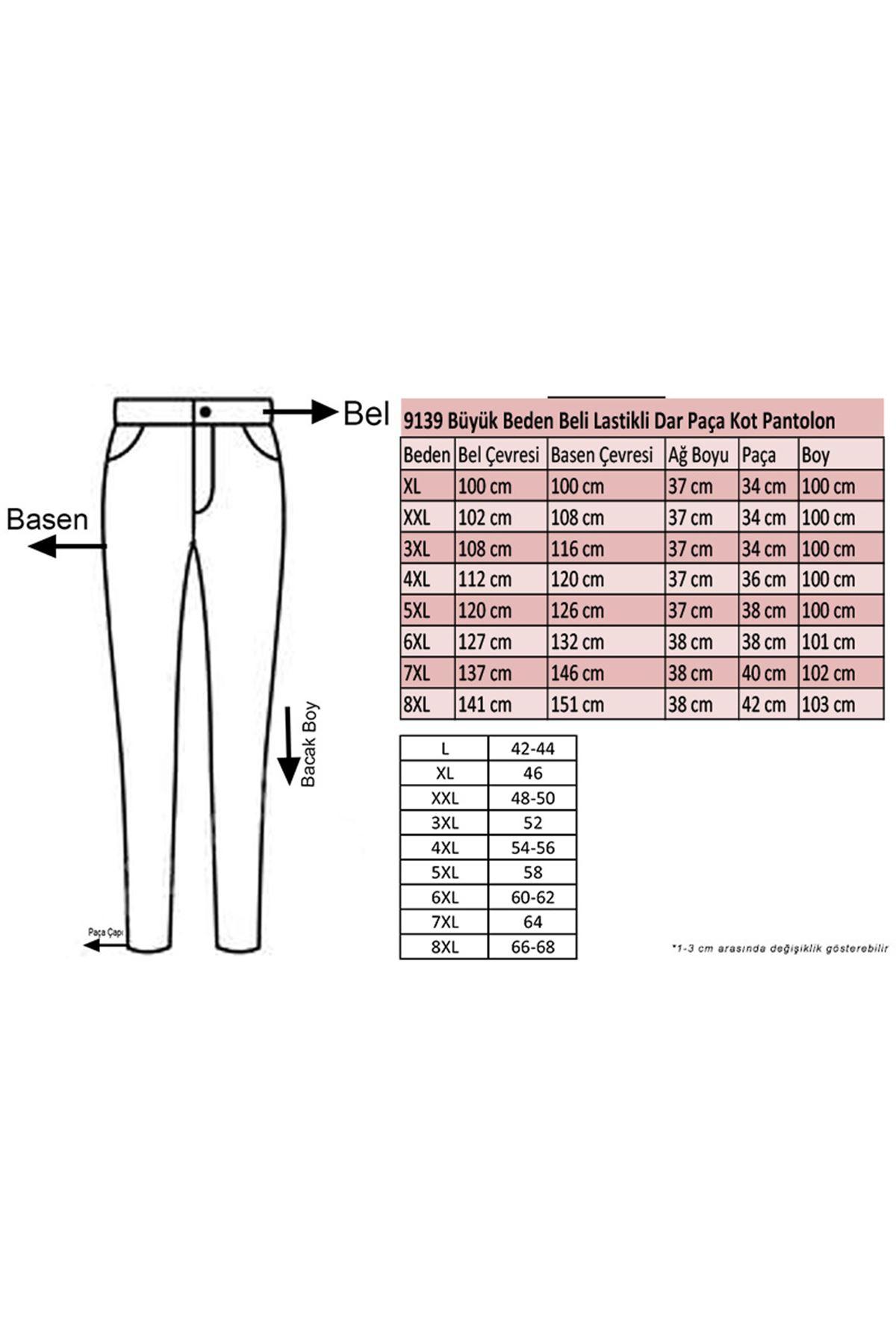 9139 Büyük Beden Beli Lastikli Dar Paça Kot Pantalon-Lacivert