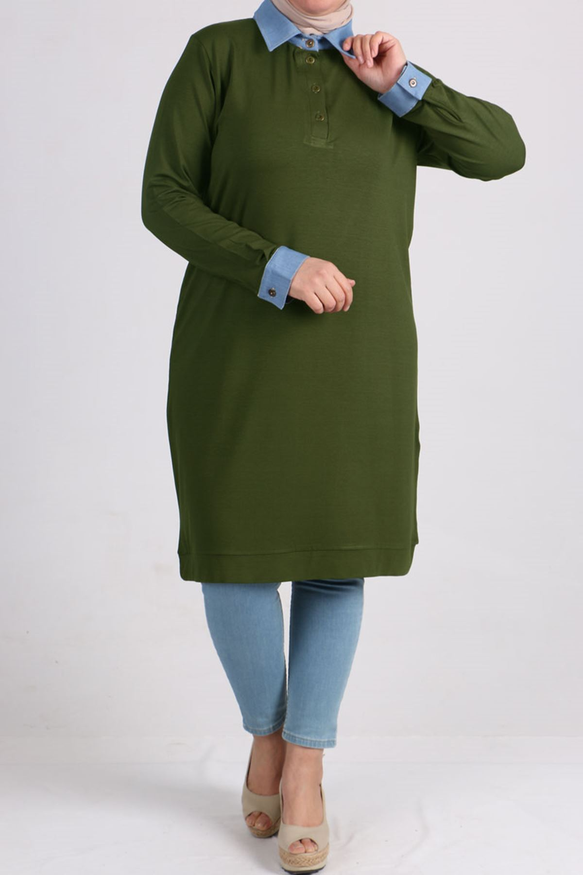 8453  Plus Size Tunic  with Denim Neck - Khaki