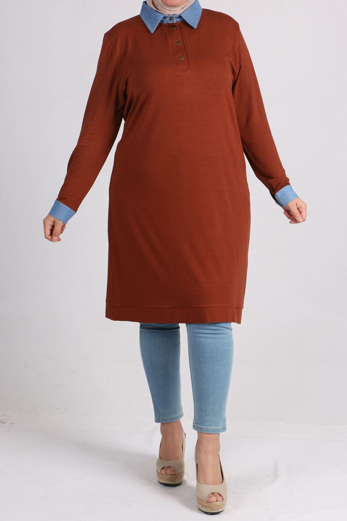 8453 Plus Size Tunic with Denim Neck - Terra Cotta