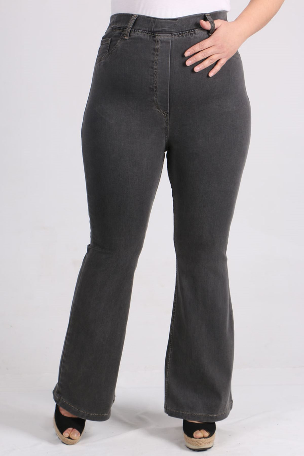 9137 Büyük Beden Beli Lastikli İspanyol Paça Kot Pantalon-Antrasit