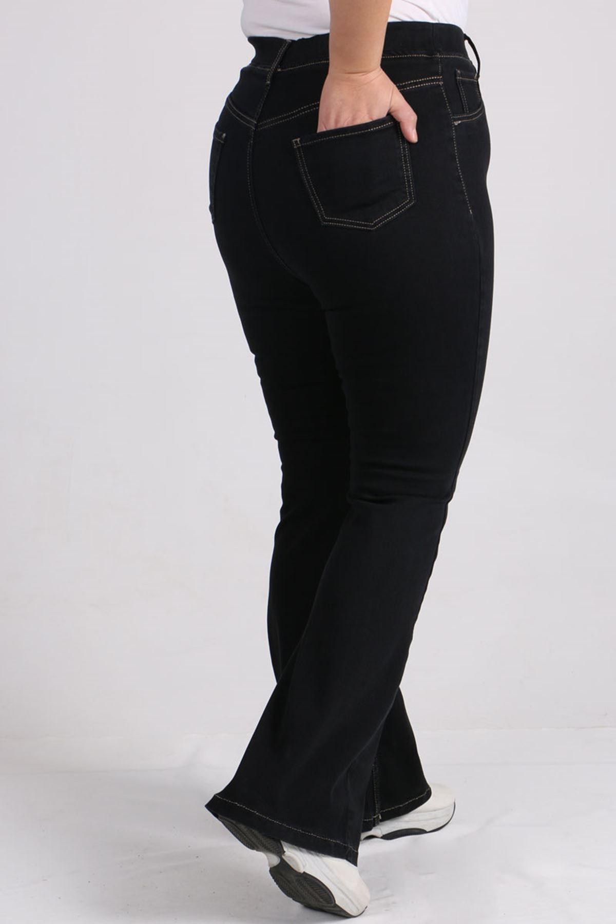 9137 Büyük Beden Beli Lastikli İspanyol Paça Kot Pantalon-Siyah