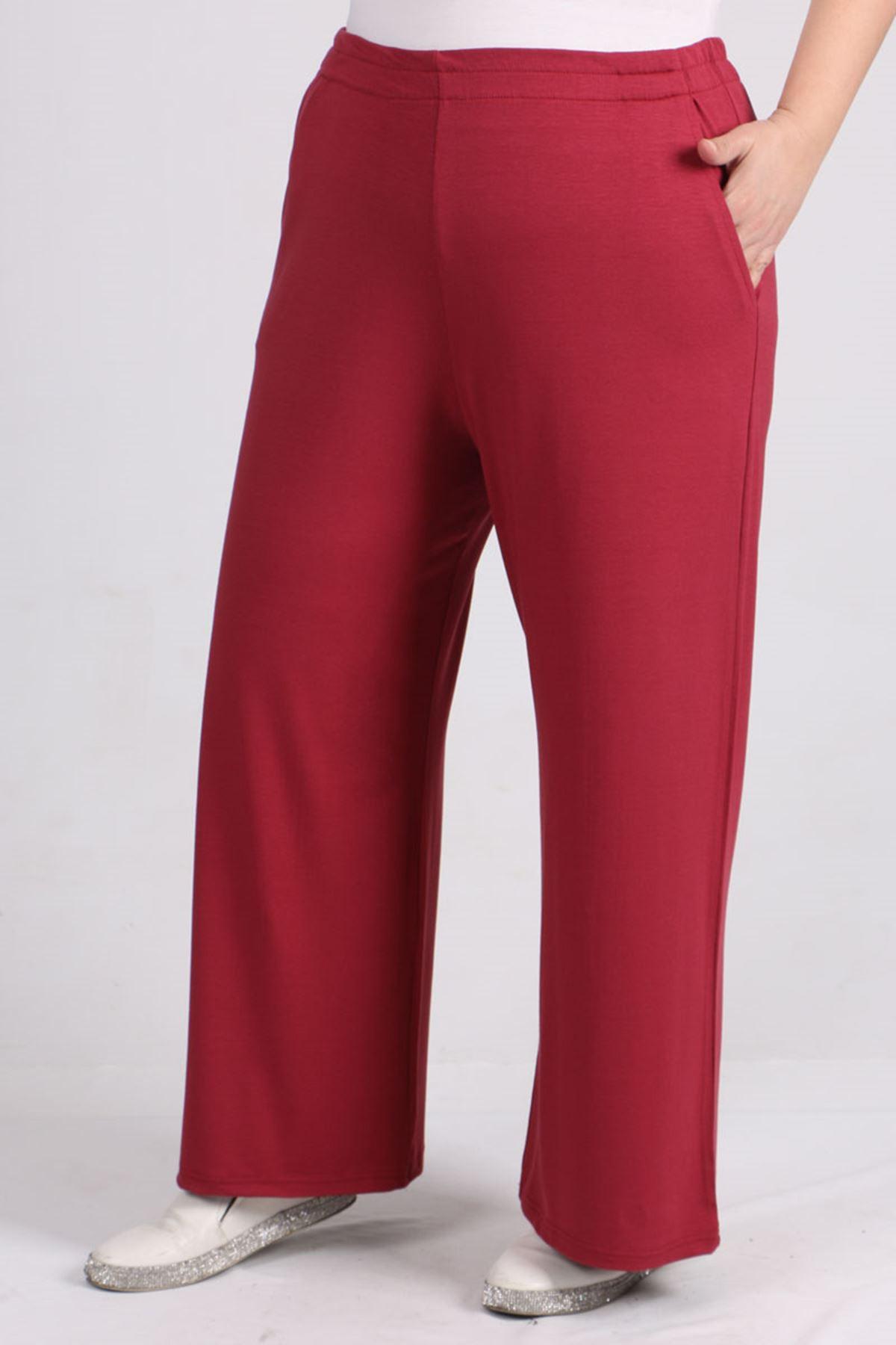 9012 Büyük Beden Beli Lastikli Penye Pantolon -Koyu Gül
