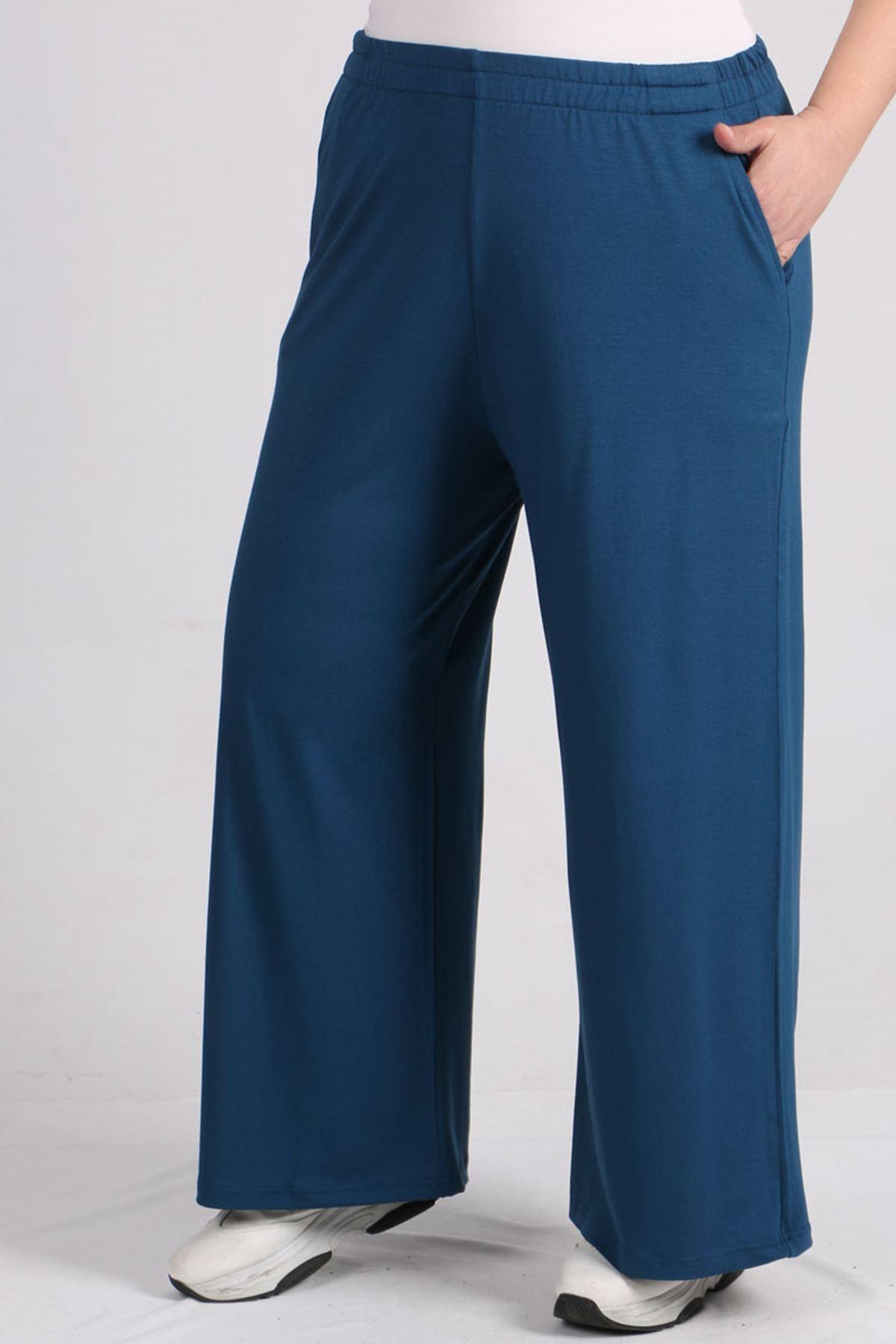 9012 Plus Size Elastic Waist Pants - Petrol