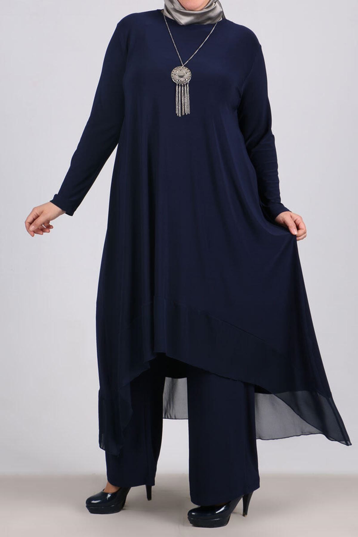 7602 Plus Size Two Piece Set with Tunic and Pants- Navy Blue
