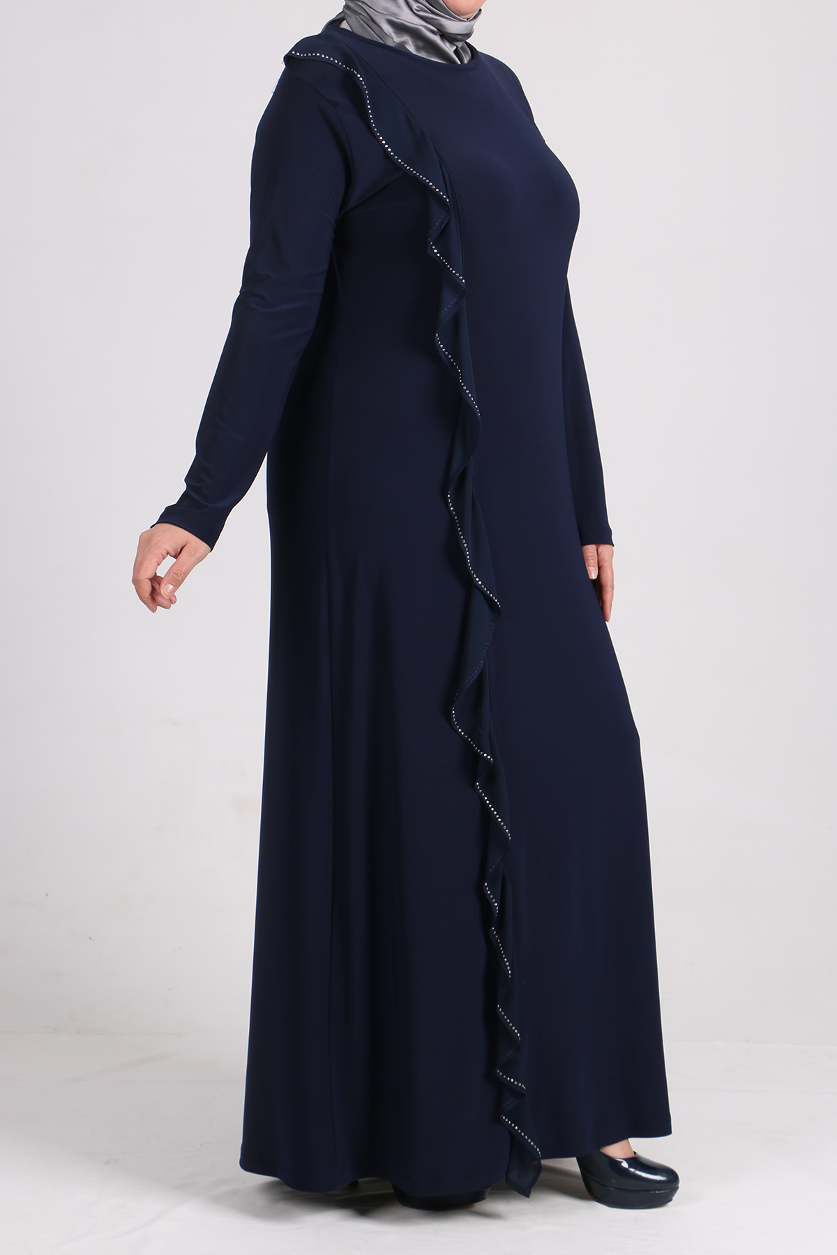 2087 Plus Size Flounced Dress - Navy Blue