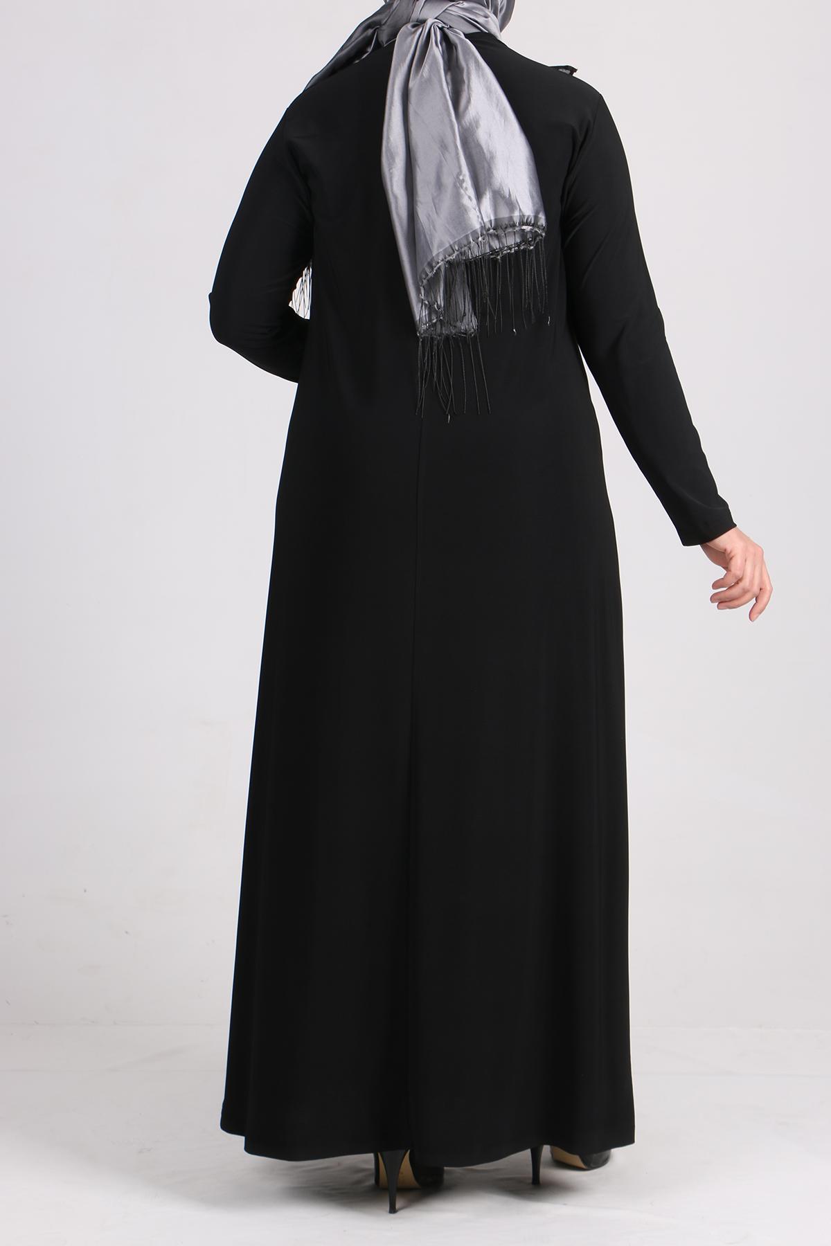 2087 Büyük Beden Sandy Volanlı Taş Baskılı Elbise - Siyah