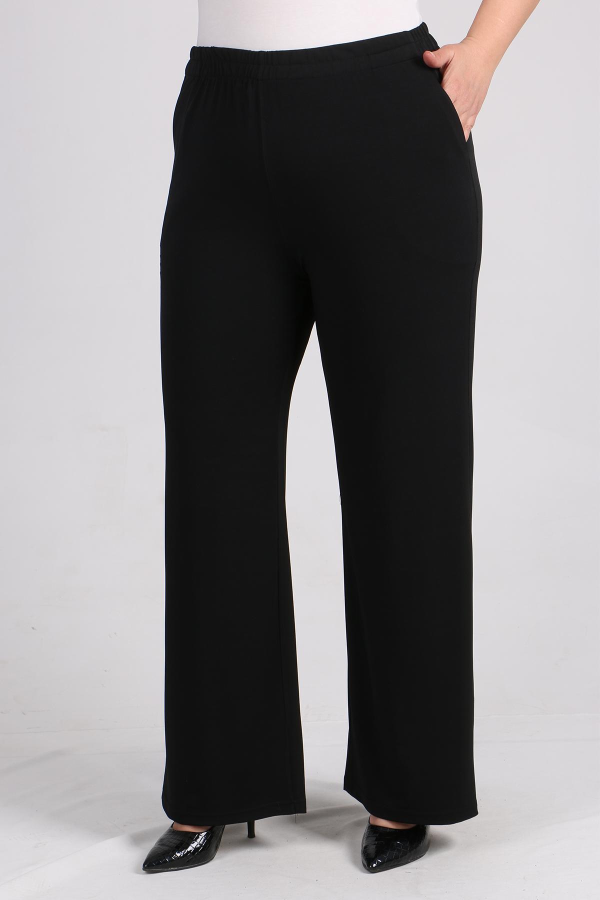 7640 Büyük Beden Parlak Biyeli Sandy Pantalonlu Takım-Siyah