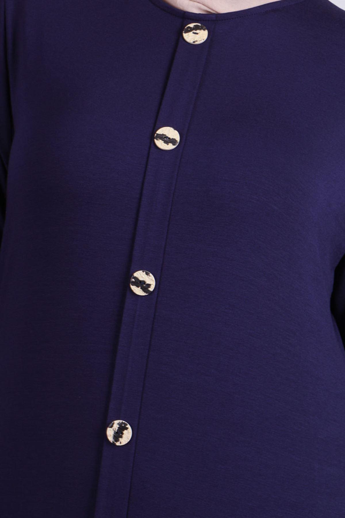 2090 Plus Size Front Buttoned Dress - Navy Blue
