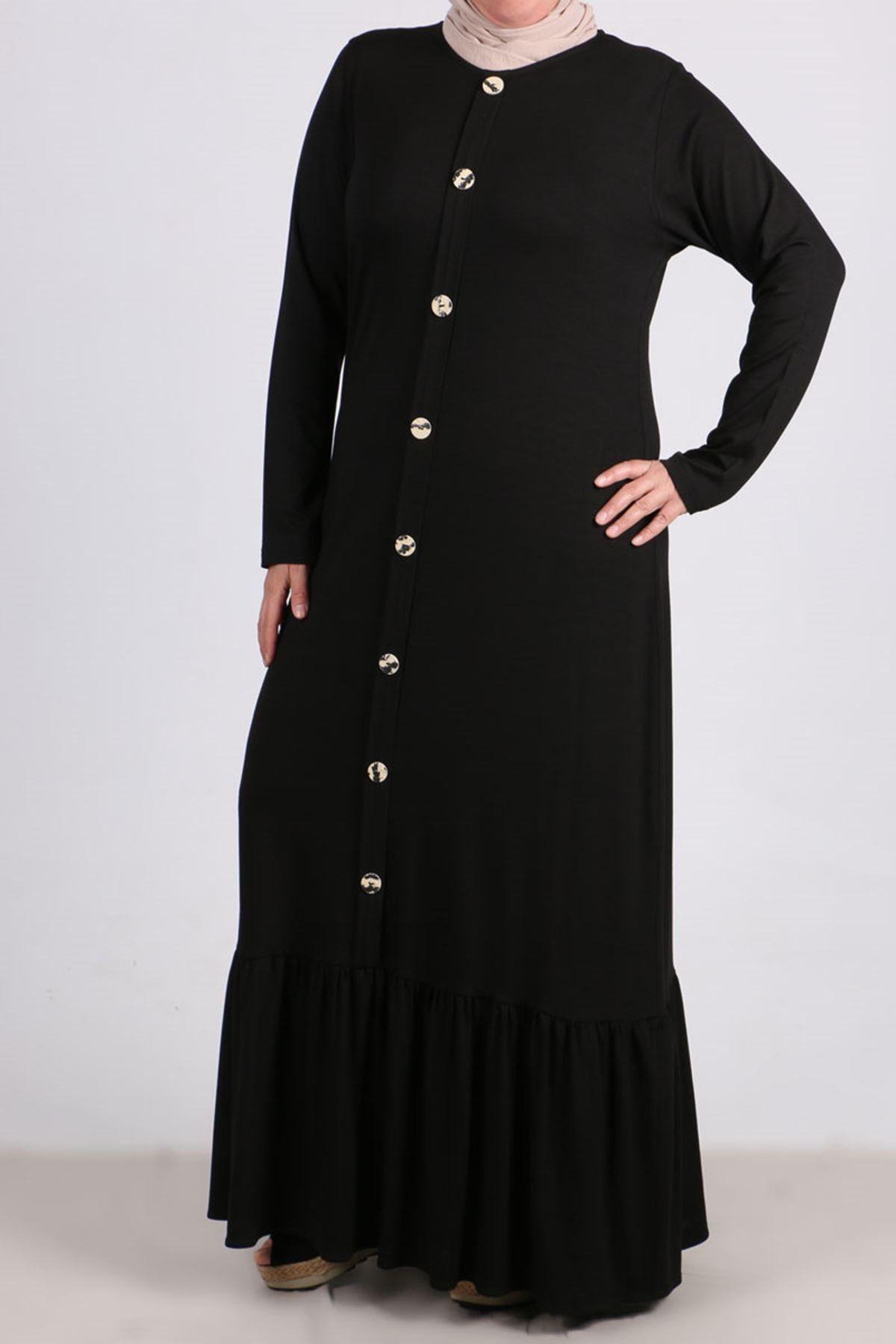 2090 Büyük Beden Önü Düğmeli Penye Elbise - Siyah