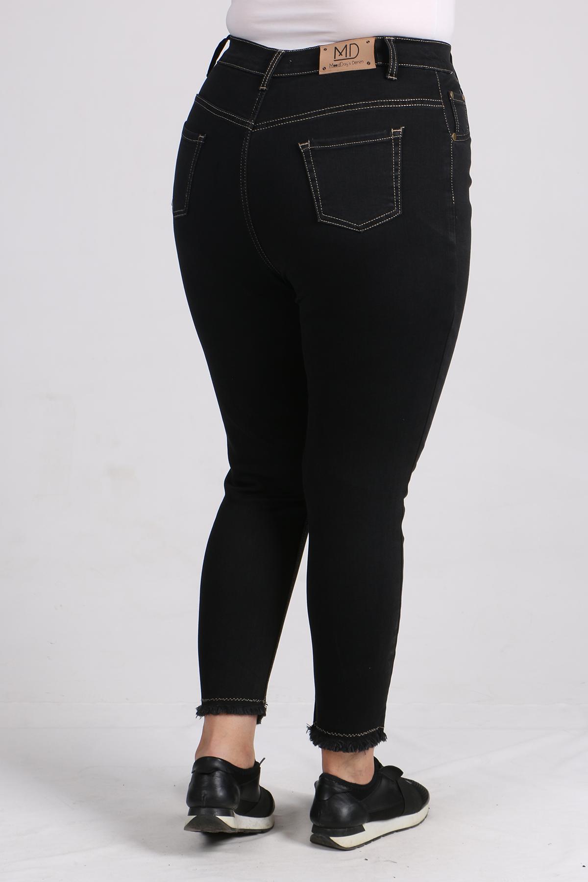 9112 Plus Size Skinny Leg Jeans - Black