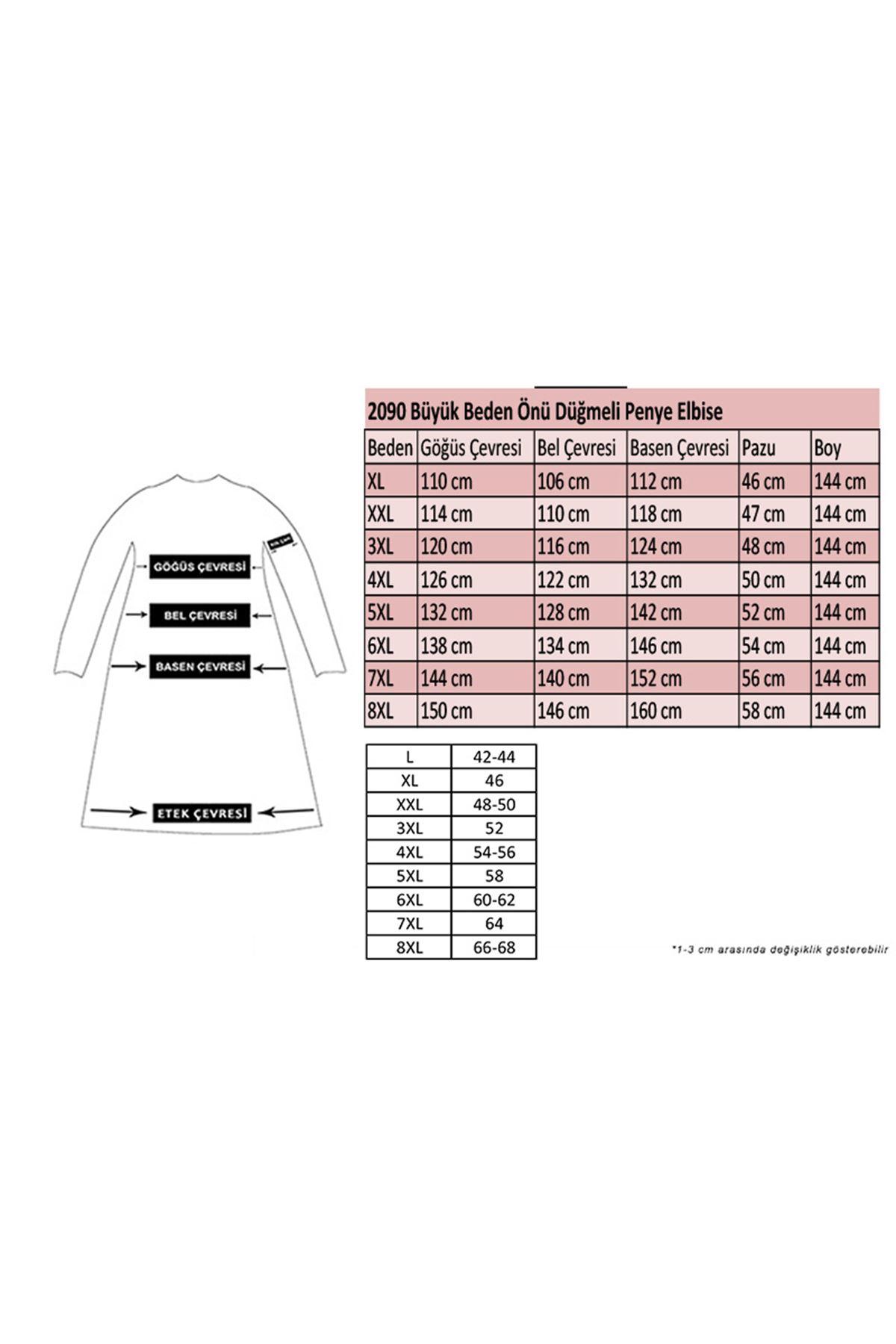 2090 Plus Size Front Buttoned Dress - Khaki