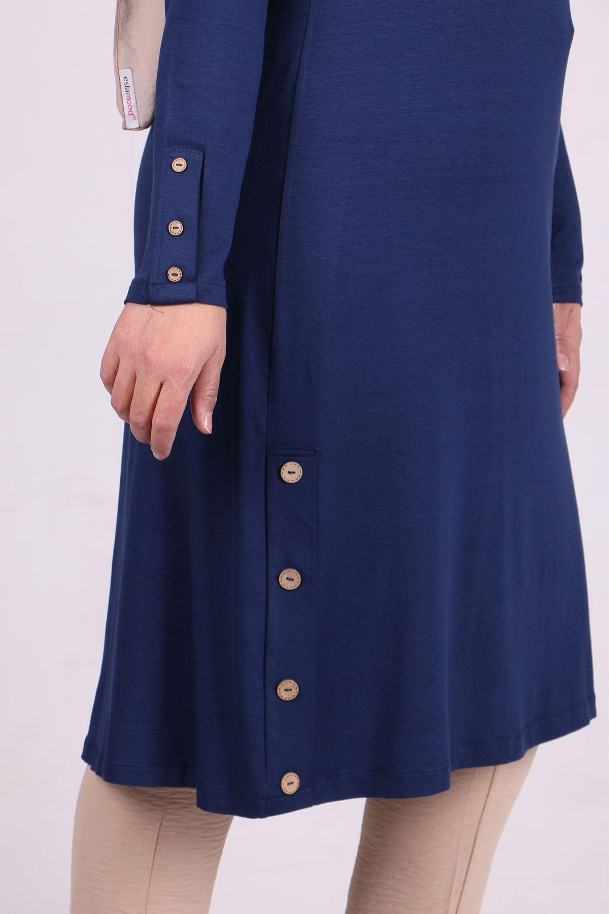 8180 Plus Size Button Detailed Tunic - Indigo