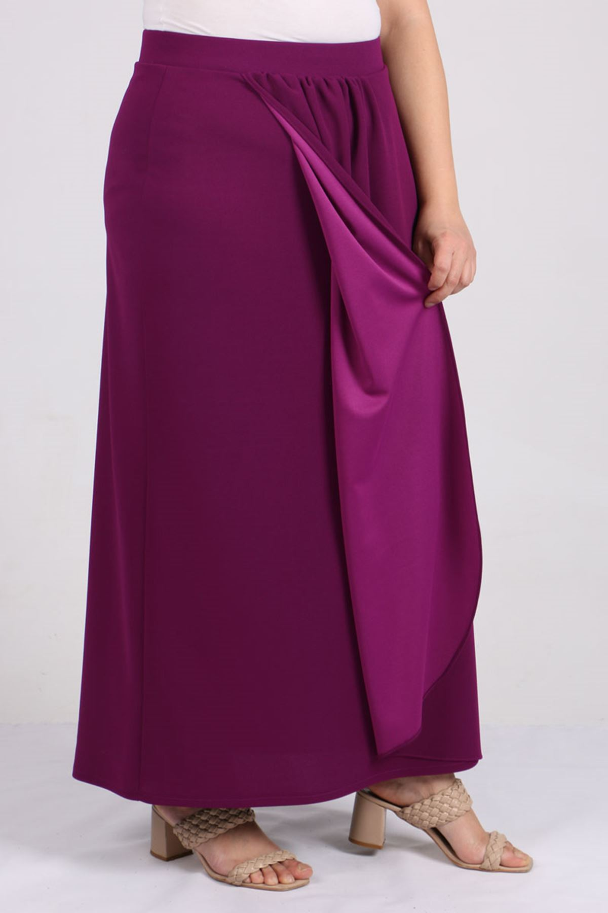 5044 Plus Size Front Gathered Skirt - Plum