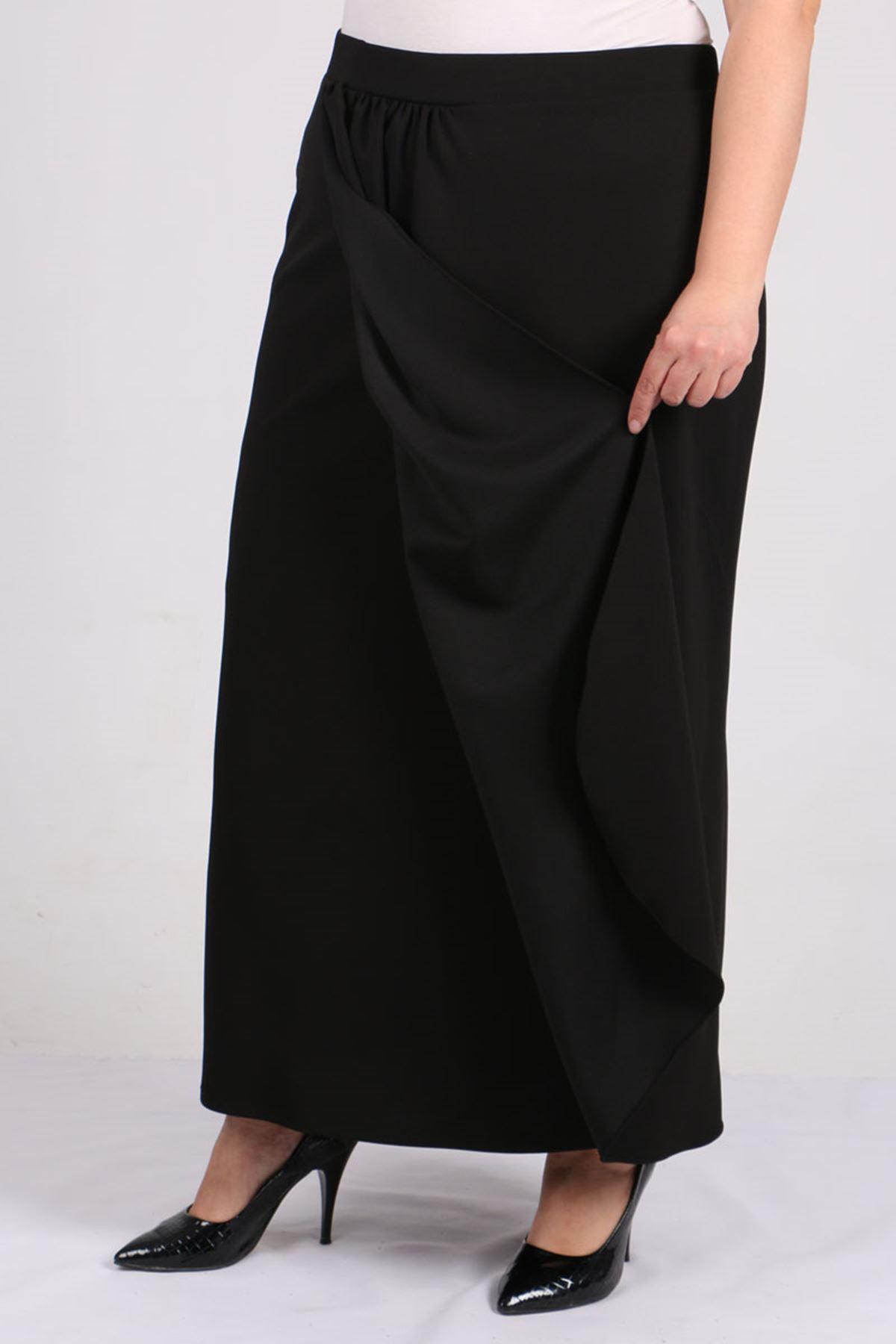 5044 Plus Size Front Gathered Skirt - Black