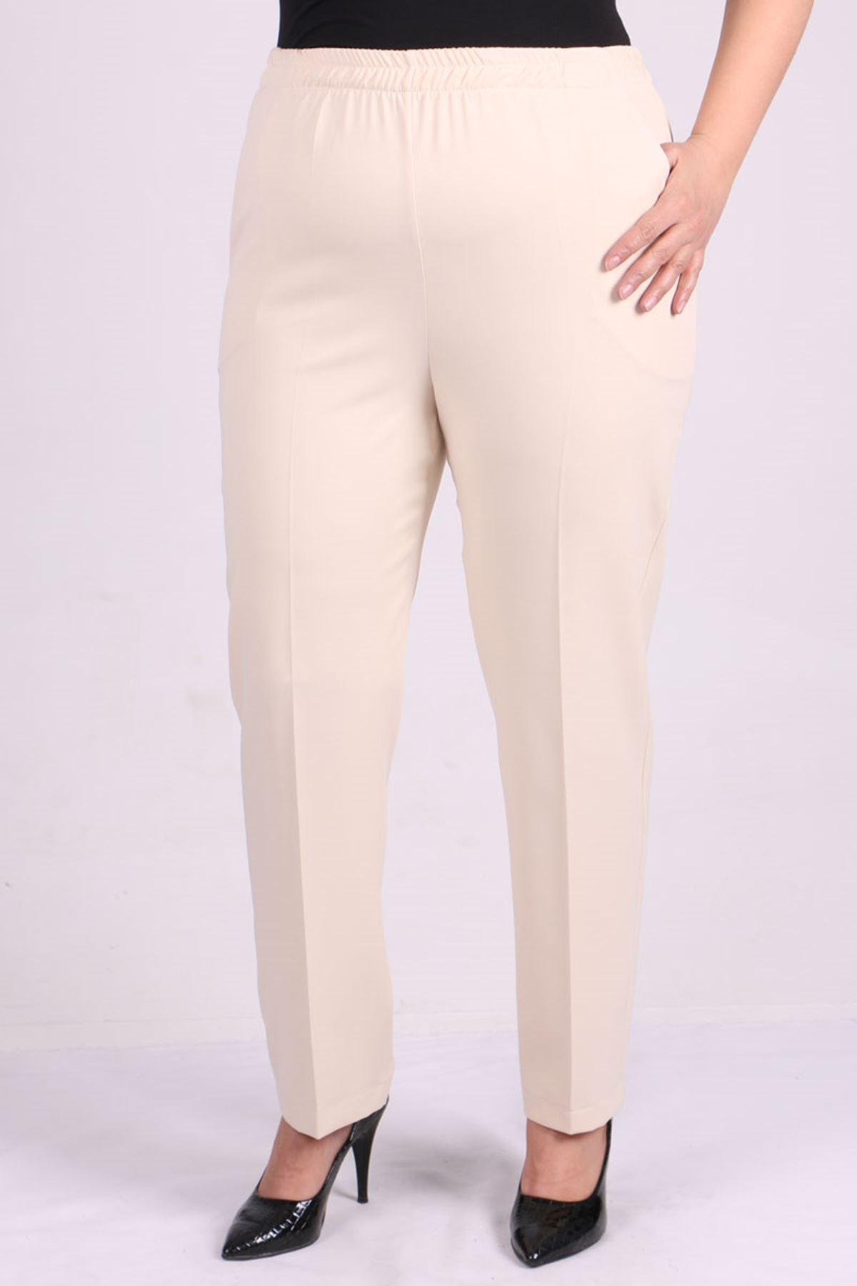 9025 Plus Size Elastic Waist Straight Cut Pants - Stone