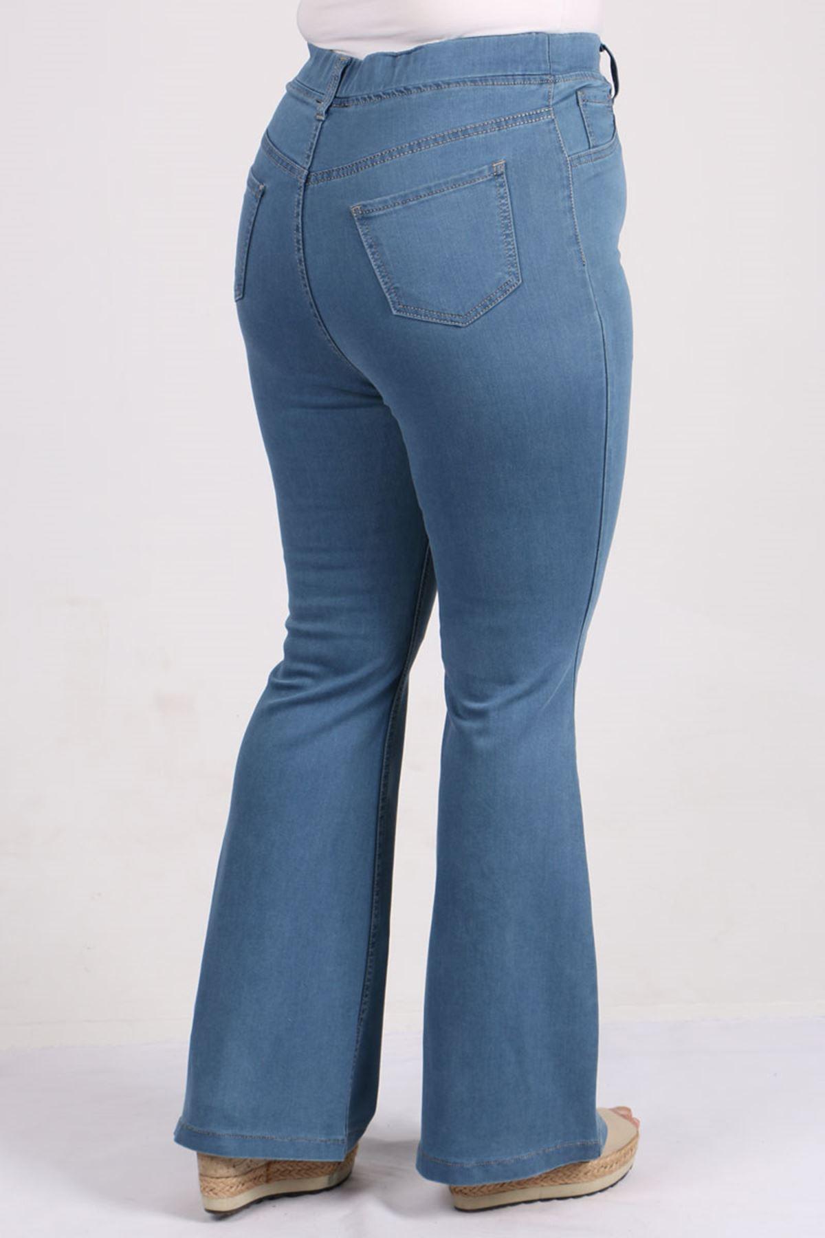 9137 Büyük Beden Beli Lastikli İspanyol Paça Kot Pantalon-Bebe Mavi