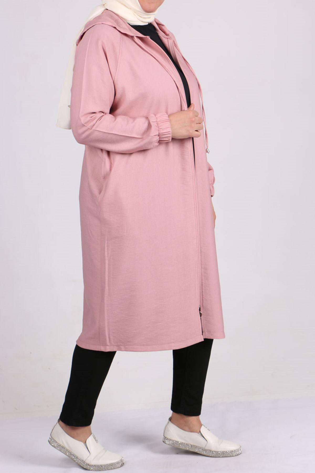 3159 Plus Size  Raglan Sleeve Rayon Linen Coat - Powder