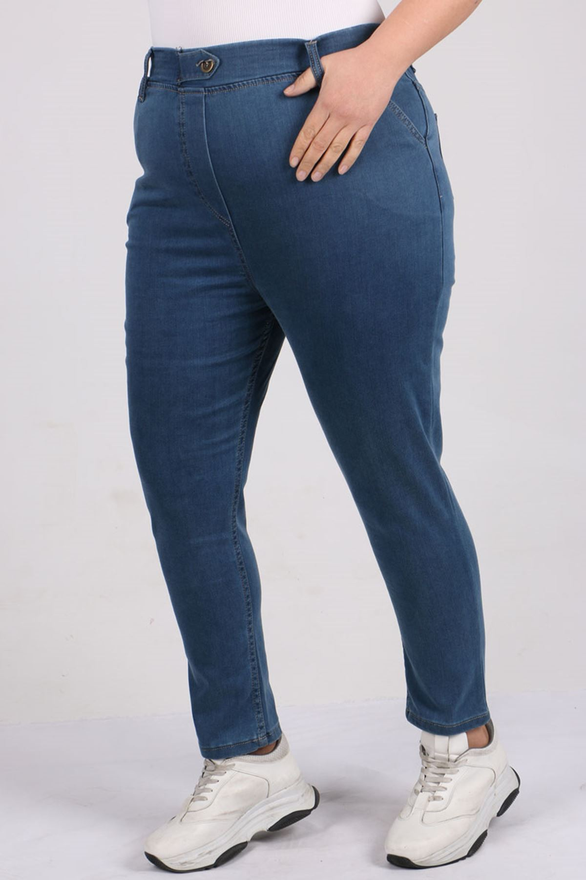 9144 Plus Size Elastic Waist Skinny Leg Jeans - Blue