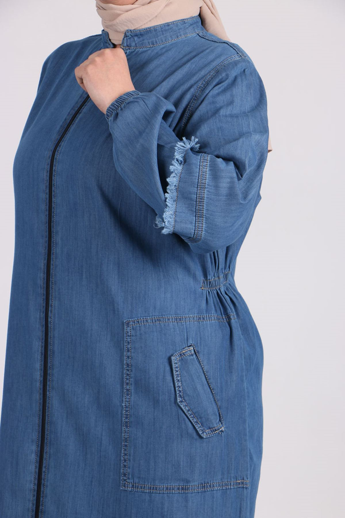 6041 Plus Size Tassel Detailed Jeans Abaya - Blue