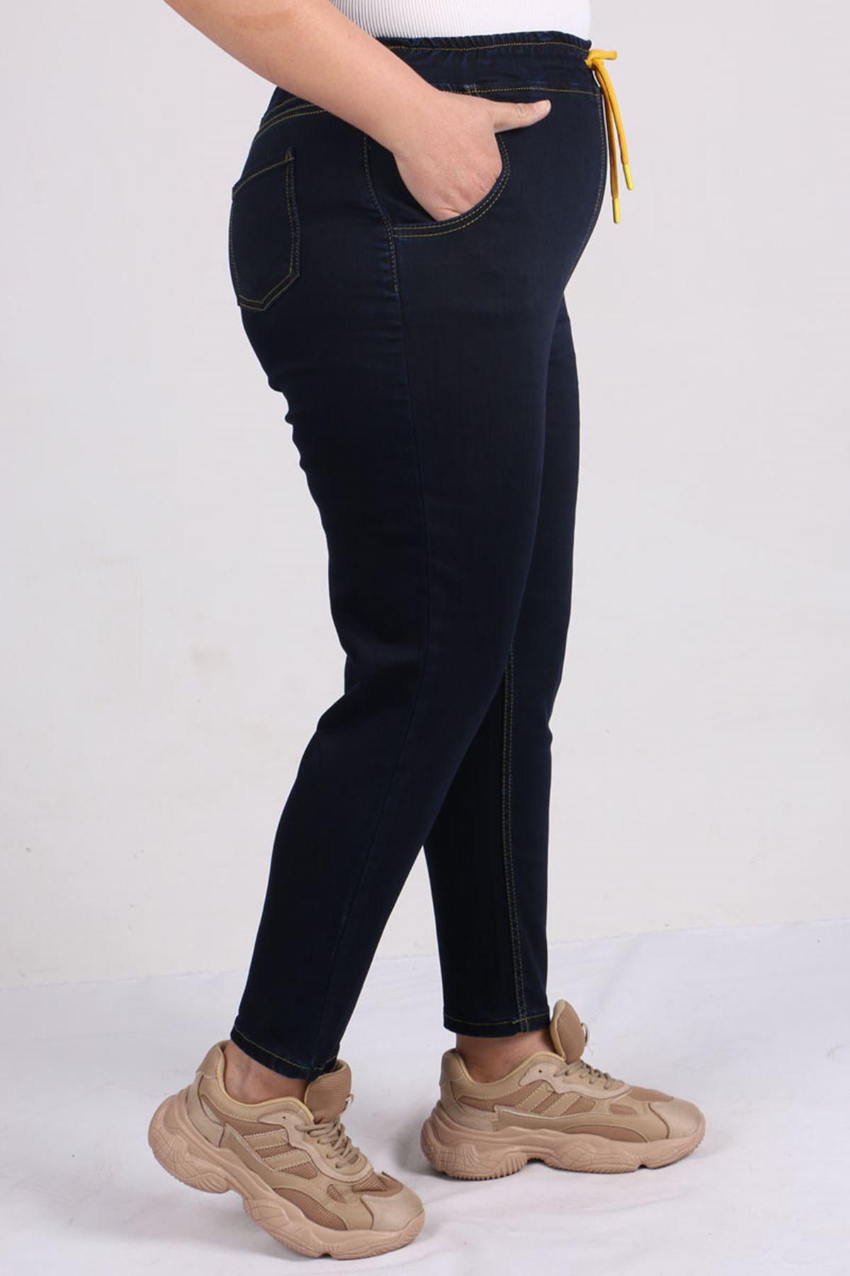 9136 Büyük Beden Beli Lastikli Mom Jeans Pantolon Koyu Lacivert - Sarı