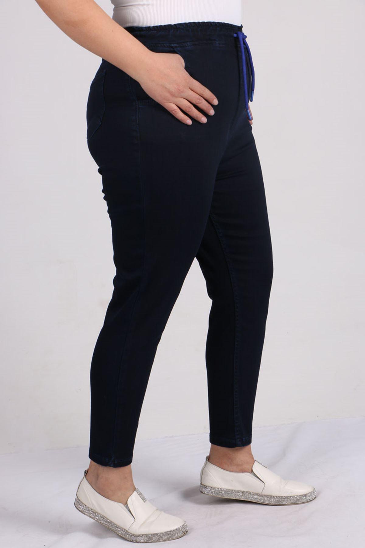 9136 Plus Size Elastic Waist Mom Jeans- Dark Navy Blue - Saxe