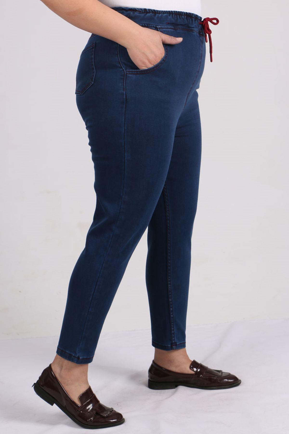 9136 Büyük Beden Beli Lastikli Mom Jeans Pantolon Koyu Mavi - Bordo