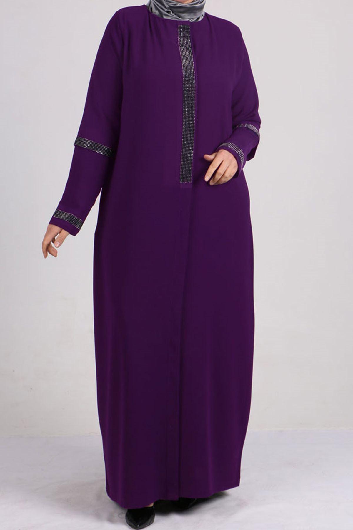6040 Plus Size Crepe Abaya - Purple
