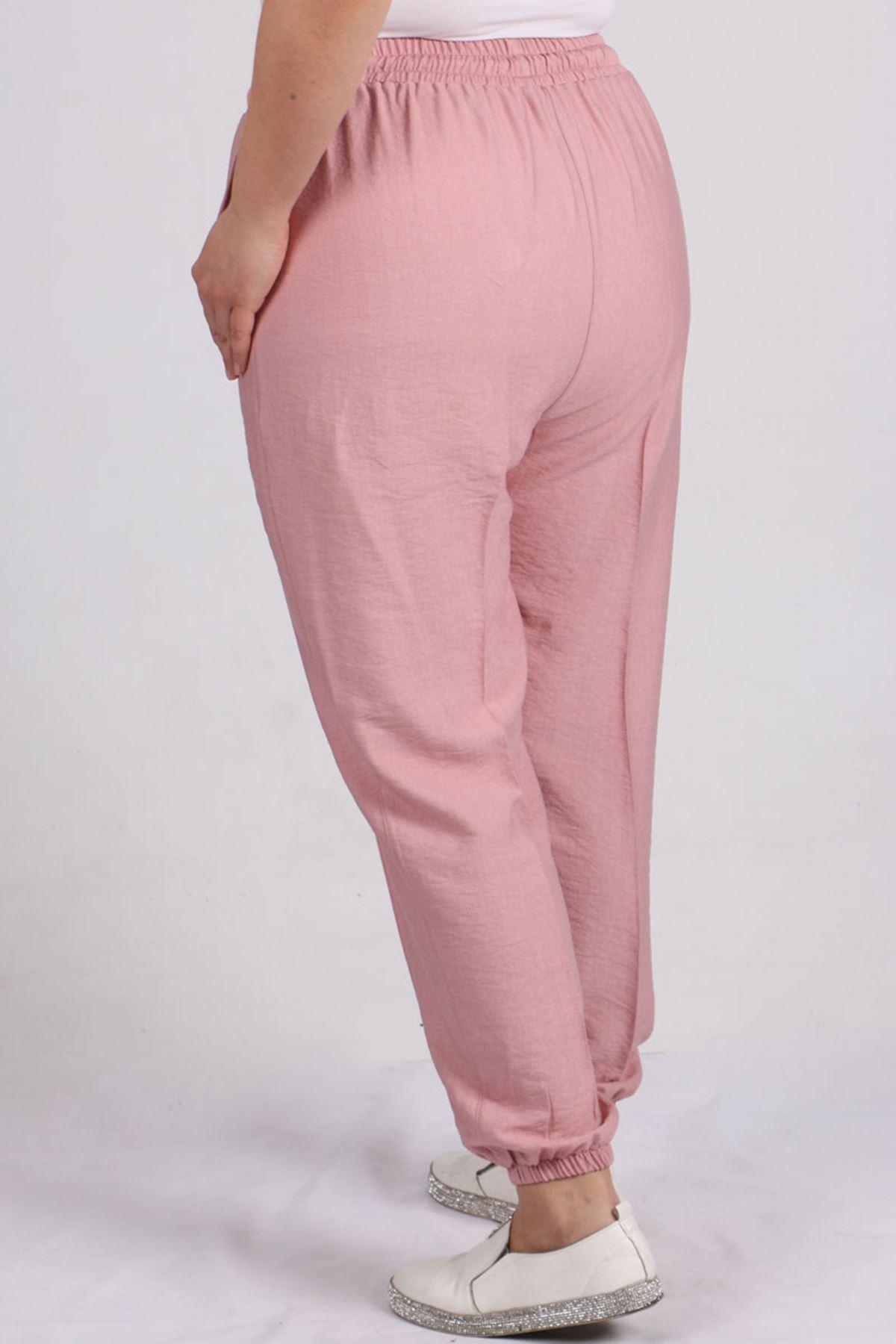 9147 Plus Size Elastic Waist Pants - Powder