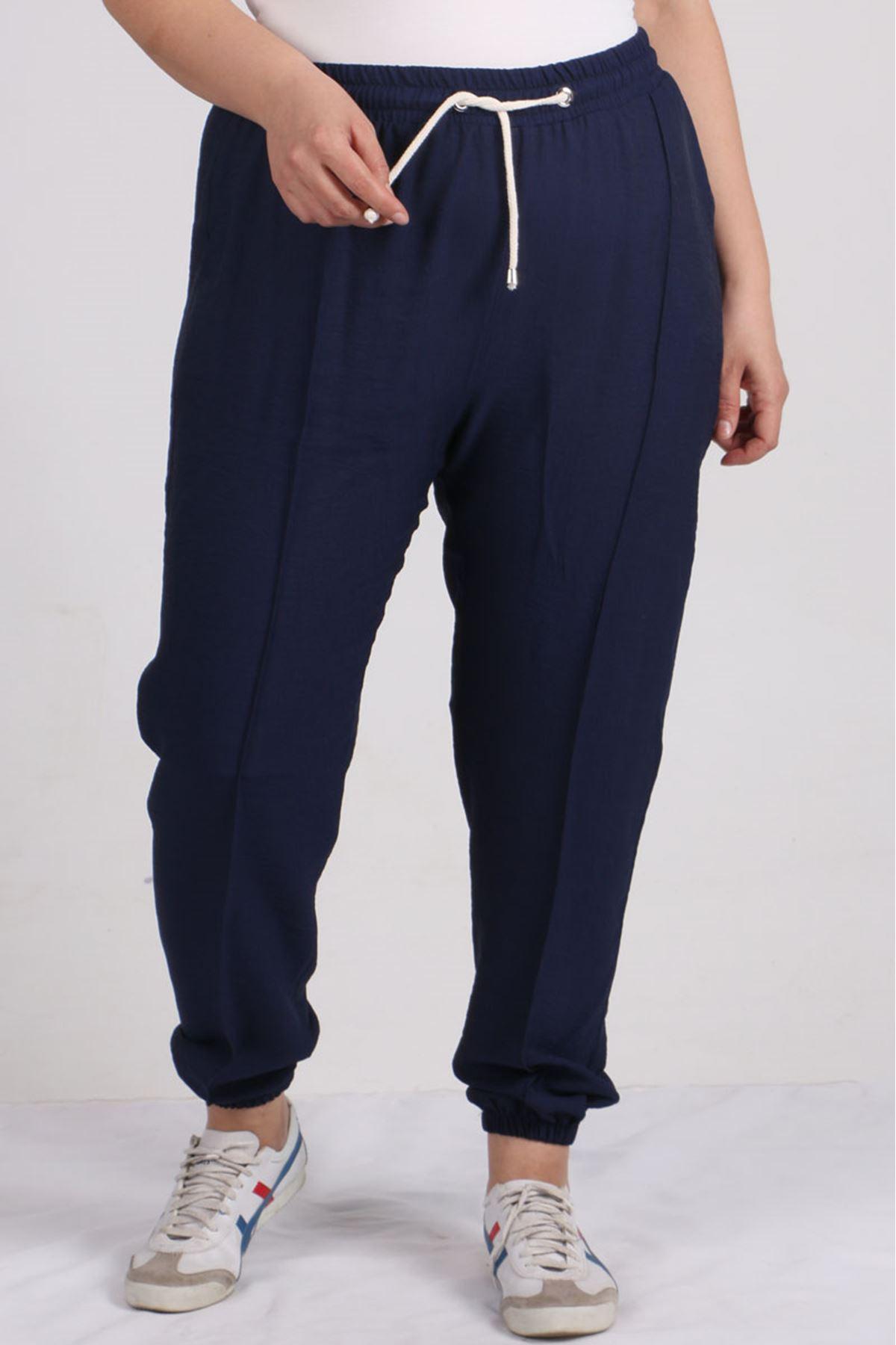 9147 Plus Size Elastic Waist Pants - Navy blue