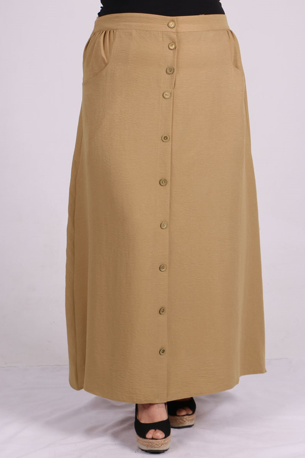 5042 Plus Size Front Buttoned Skirt - Milk Coffee