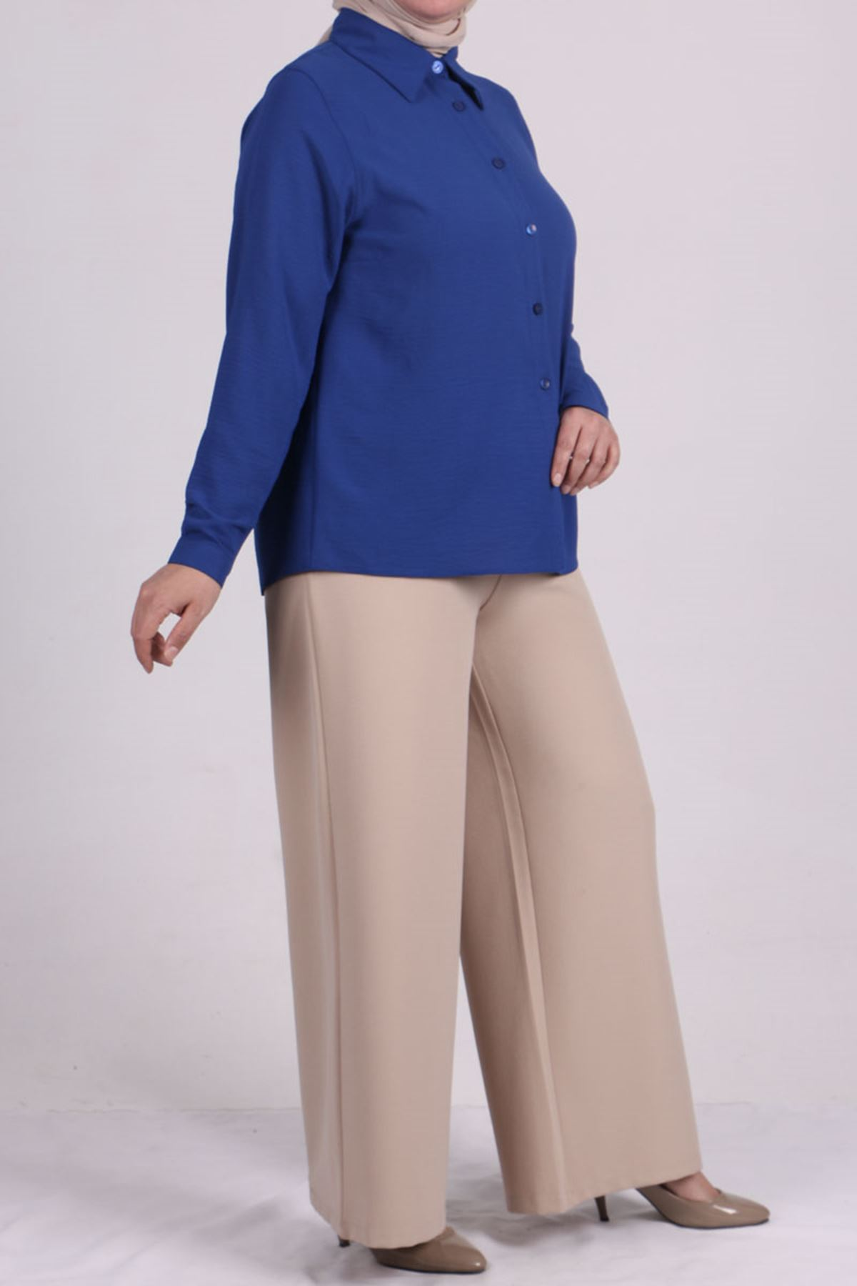 8449 Plus Size Short Shirt - Saxe