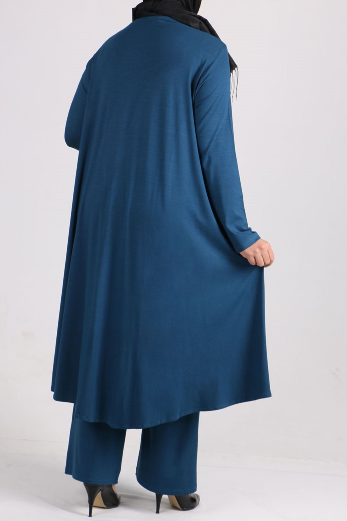 7598 Plus Size Two Piece Set with Tunic and Pants-  Petrol