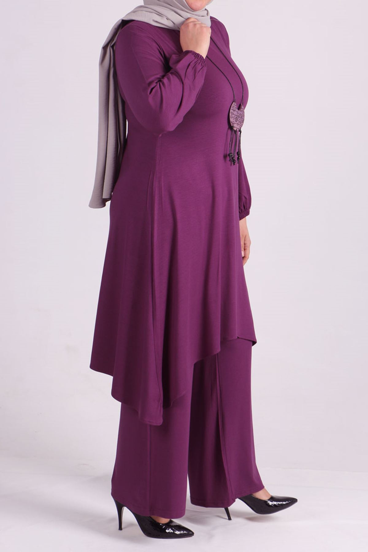 7526 Plus Size Two Piece Set with Tunic and Pants- Lilac