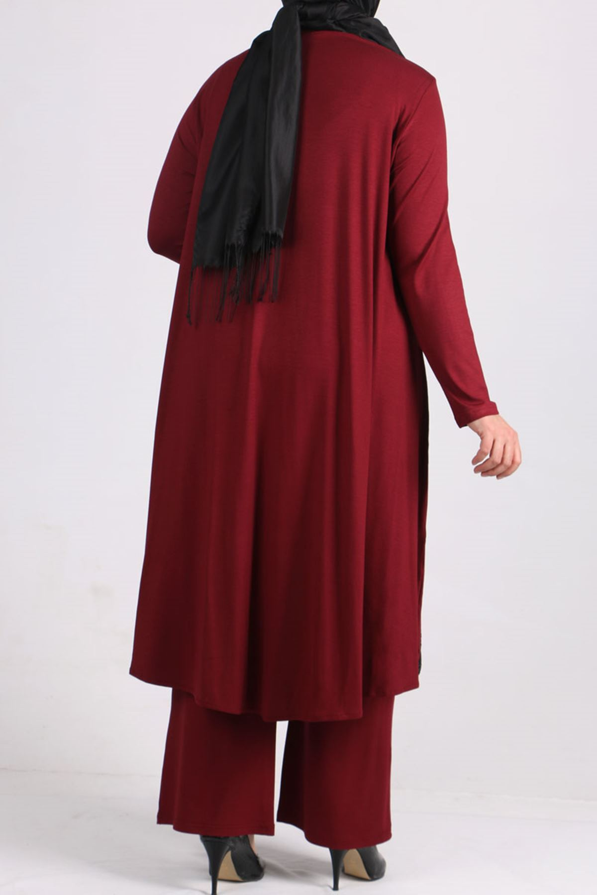 7598 Plus Size Two Piece Set with Tunic and Pants-  Claret Red