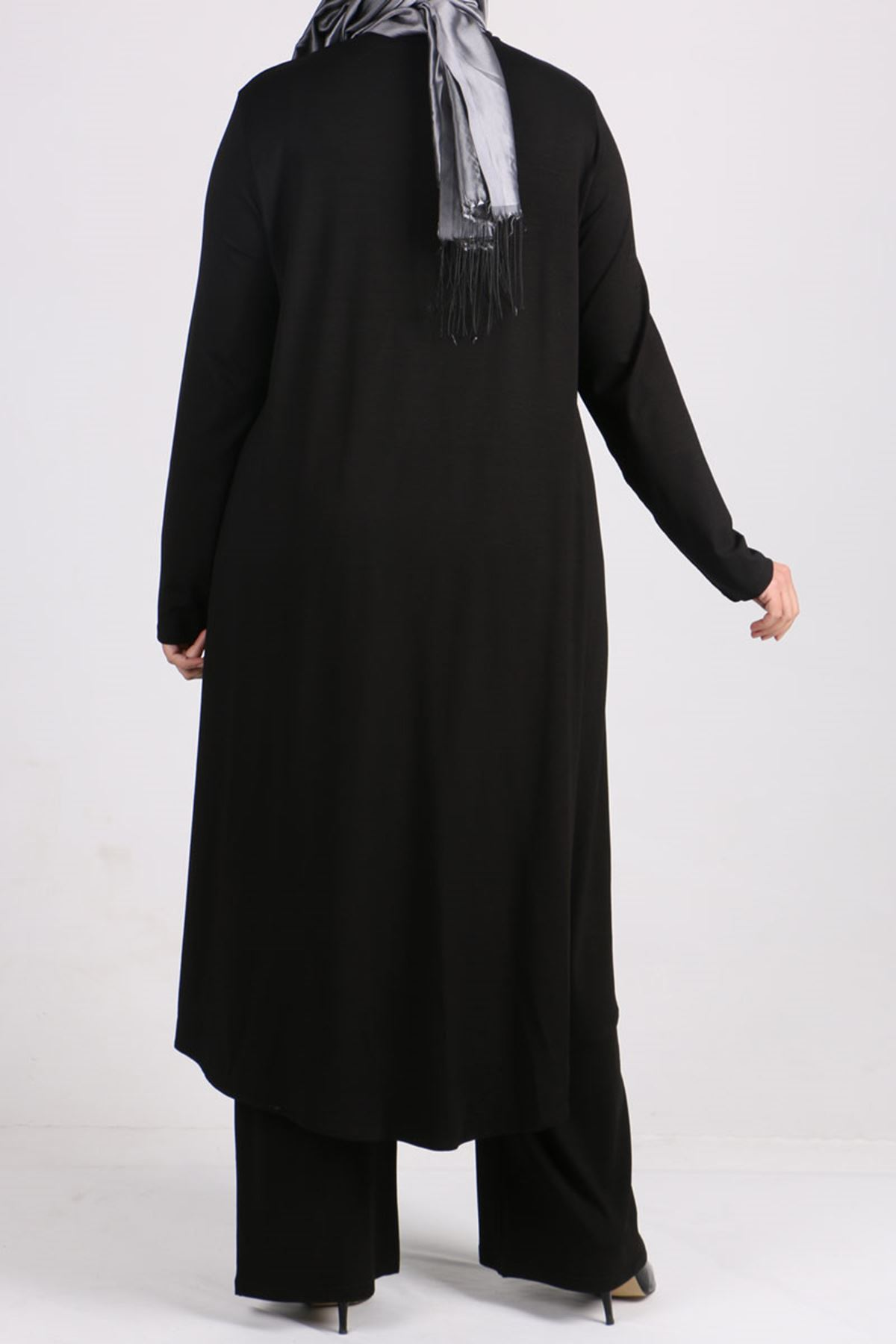 7598 Plus Size Two Piece Set with Tunic and Pants- Black