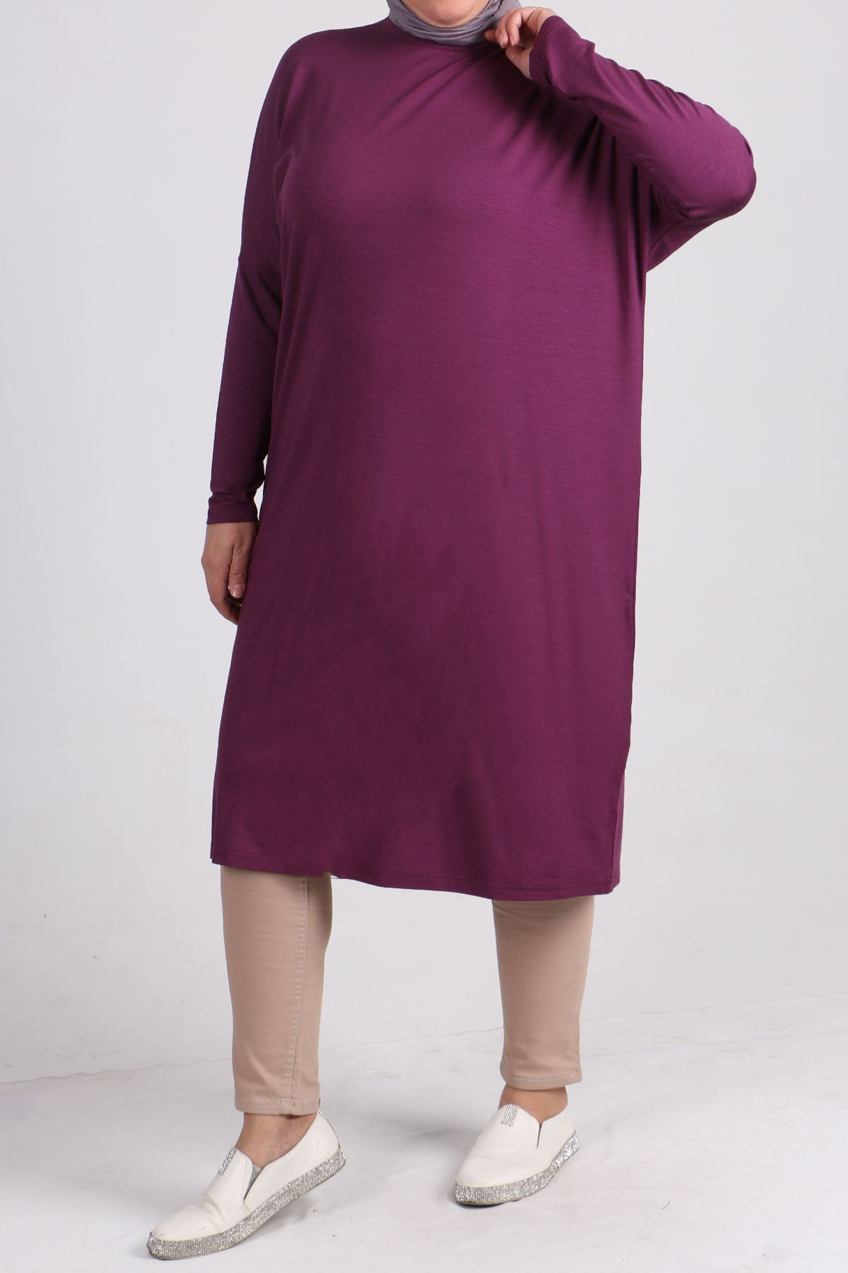 8240 Plus Size Tunic with Low Sleeve - Lilac