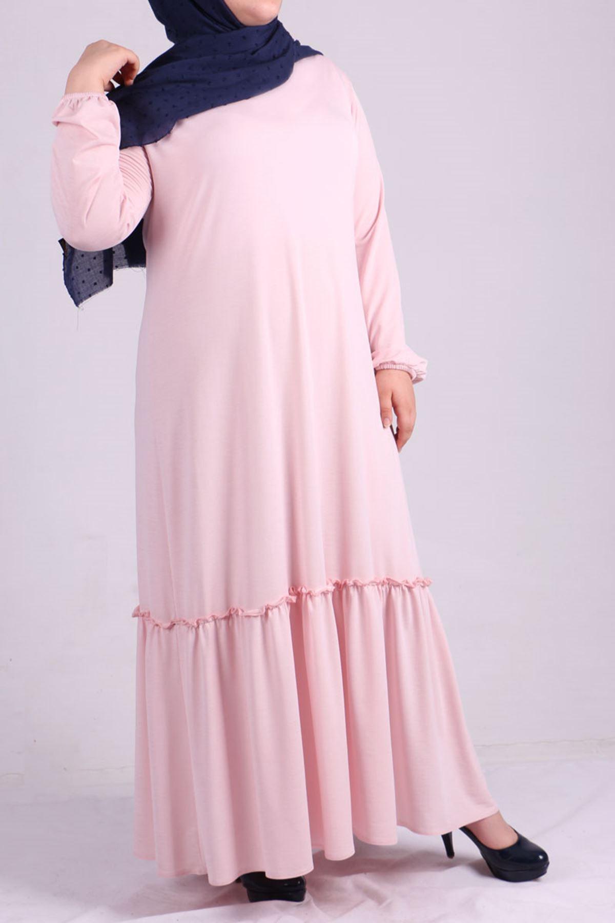 2089 Plus Size Sleeve Elastic Dress-Powder