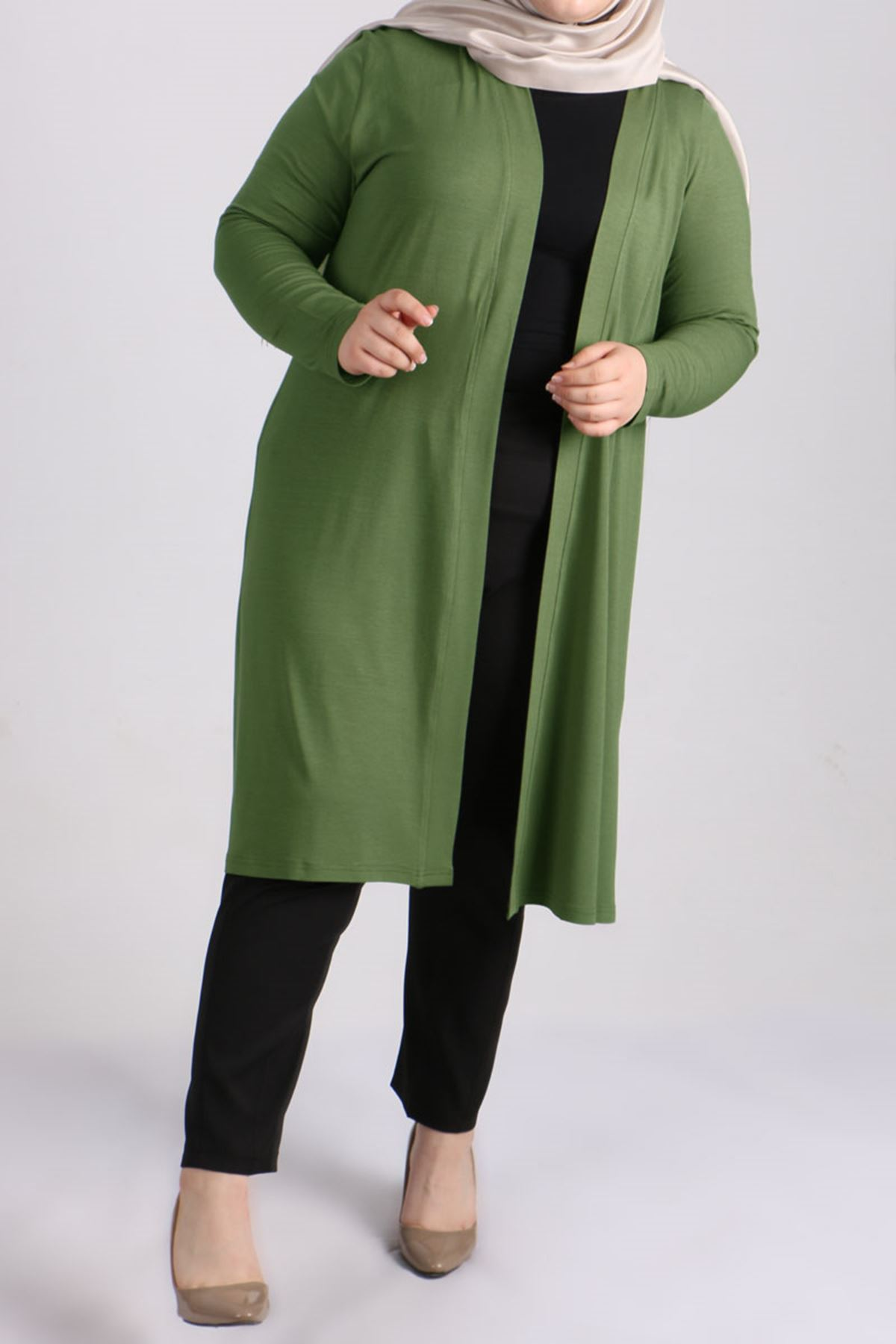 3013 Plus Size Combed Cotton Jacket - Green