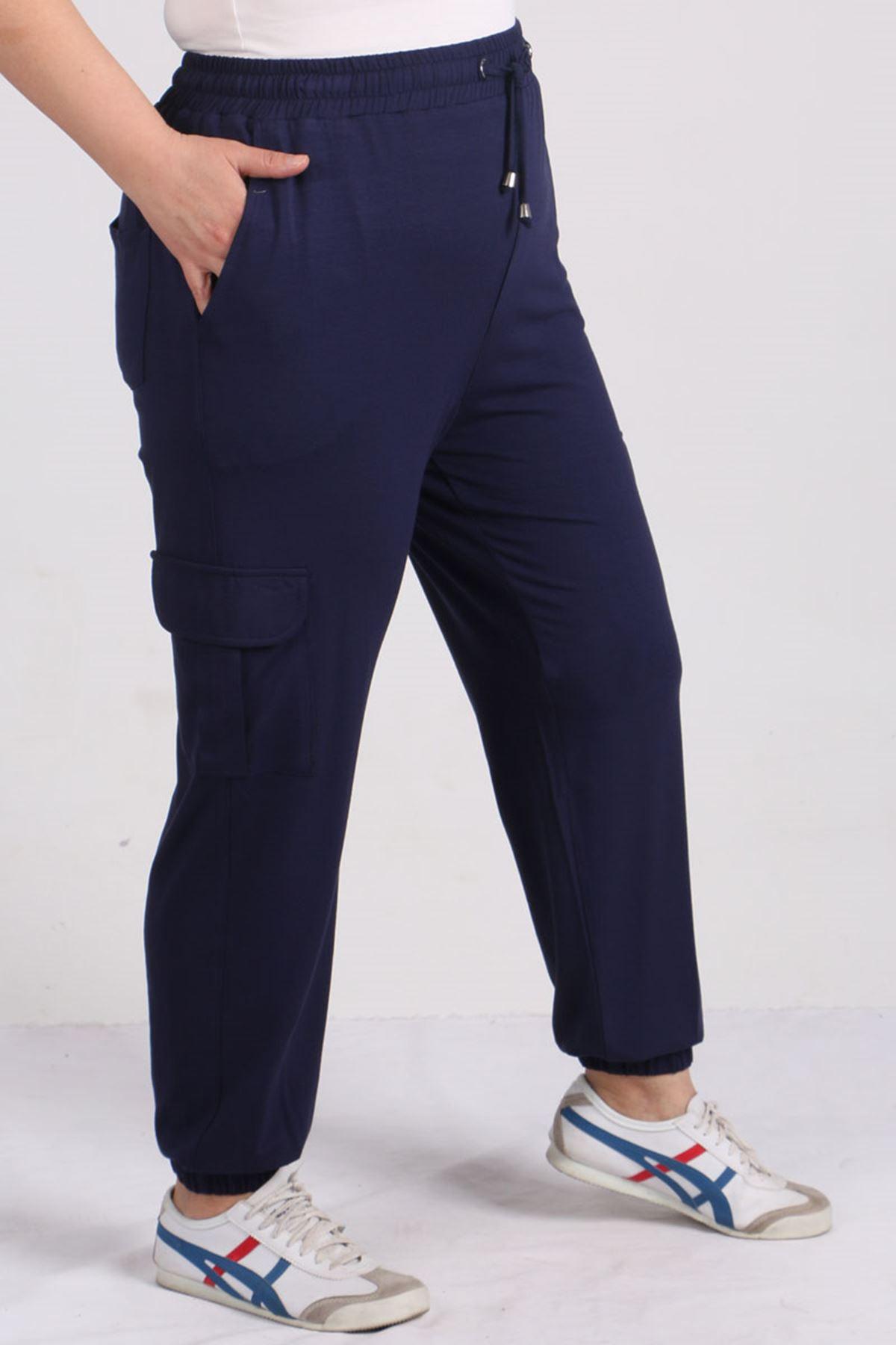 9150 Plus Size Elastic Pants - Navy blue