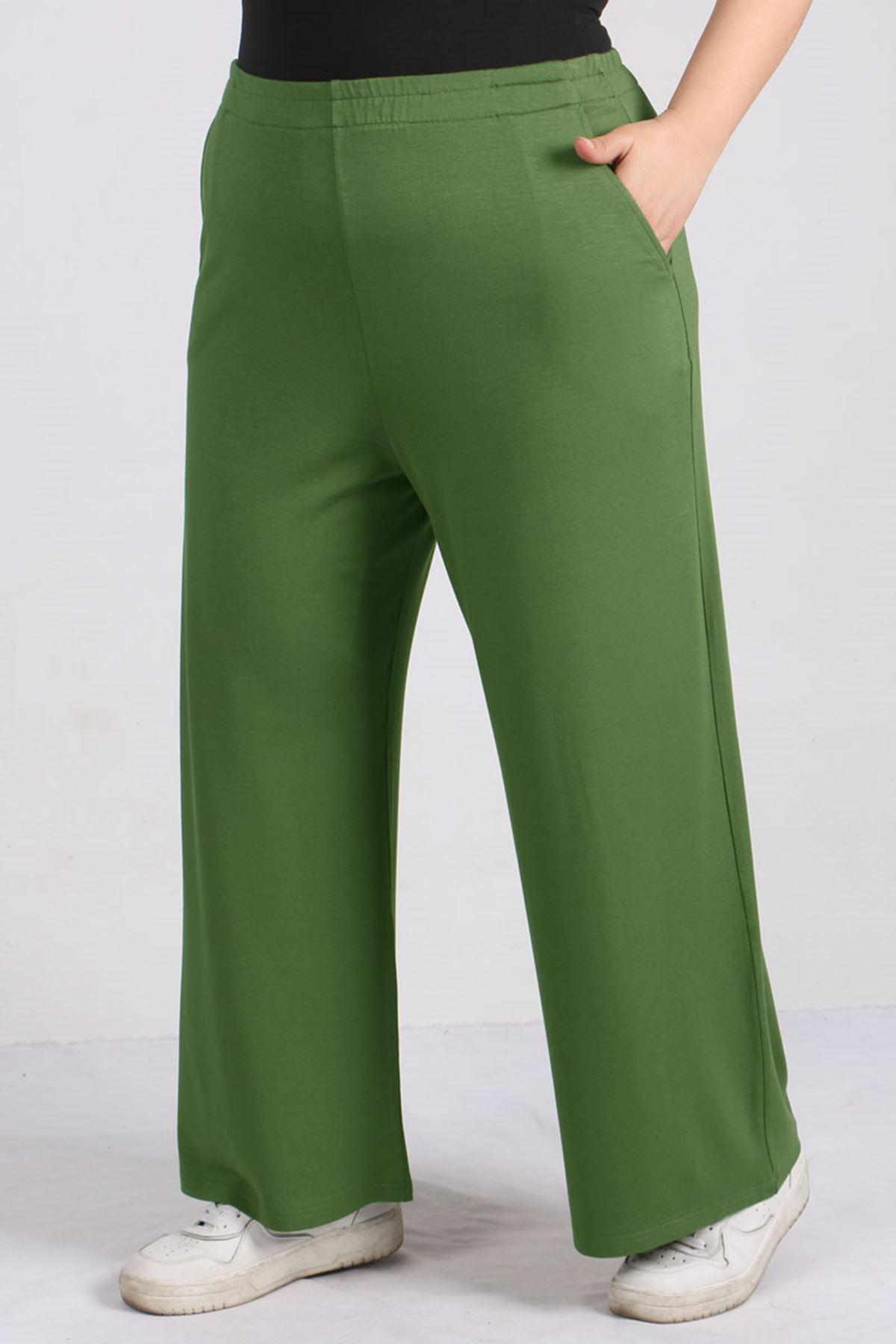 9012 Büyük Beden Beli Lastikli Penye Pantolon -Yeşil