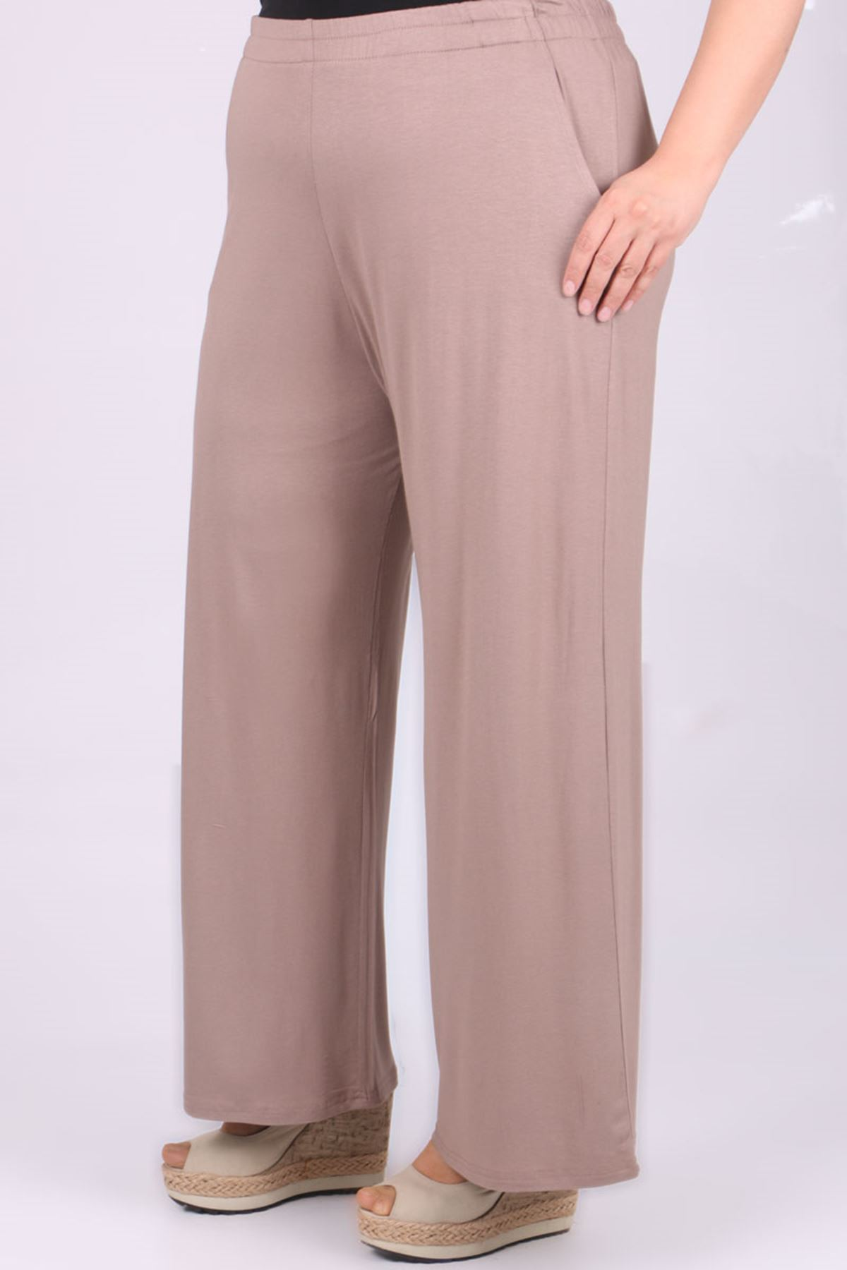 9012 Plus Size Elastic Waist Pants - Mink