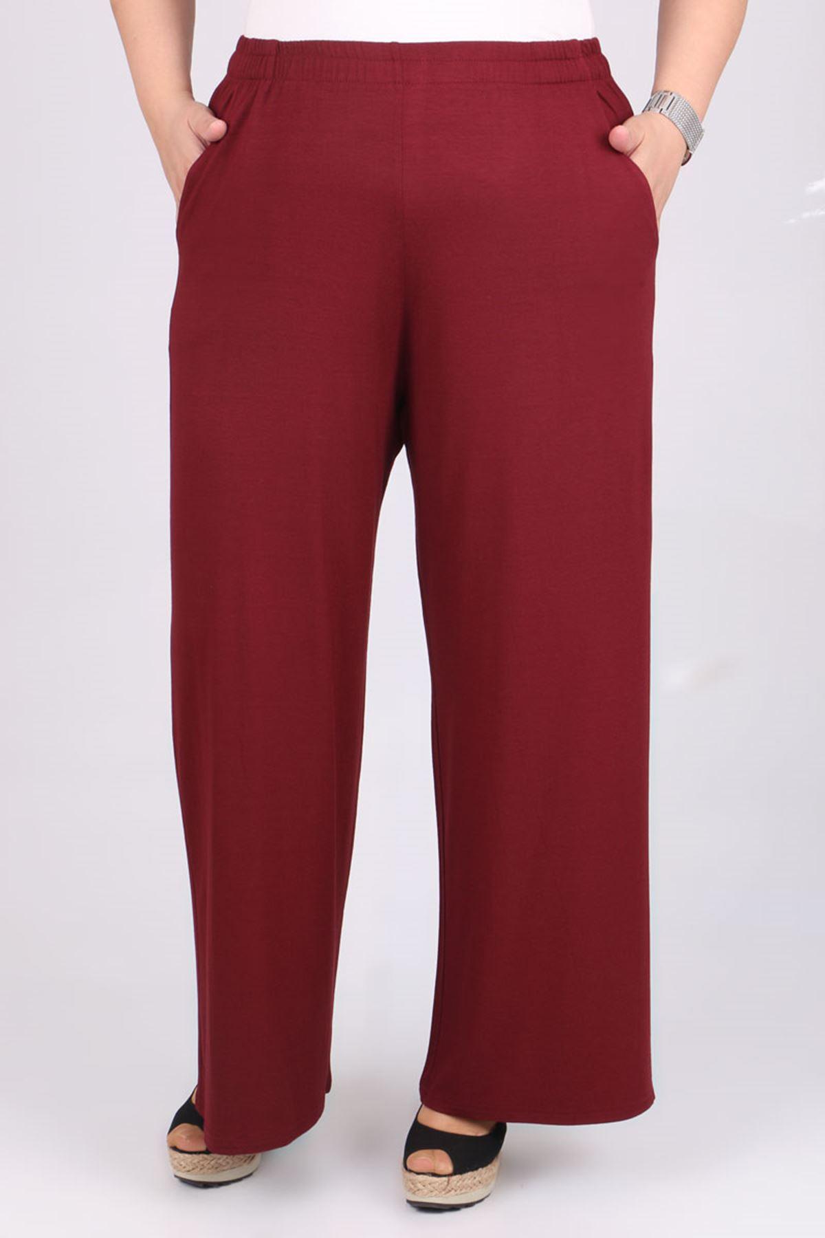 9012 Plus Size Elastic Waist Pants - Claret Red