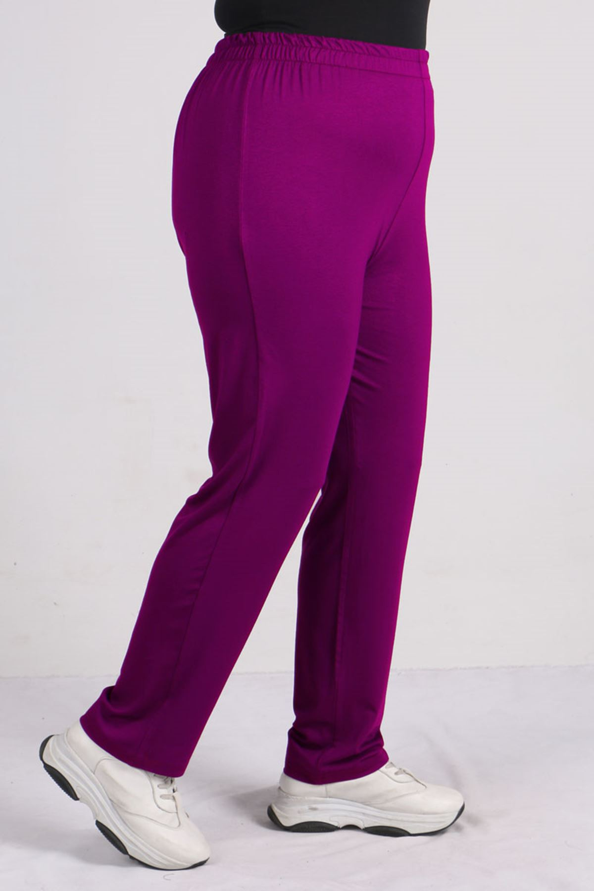 9057 Plus Size High Waist Elastic Pants - Light Purple