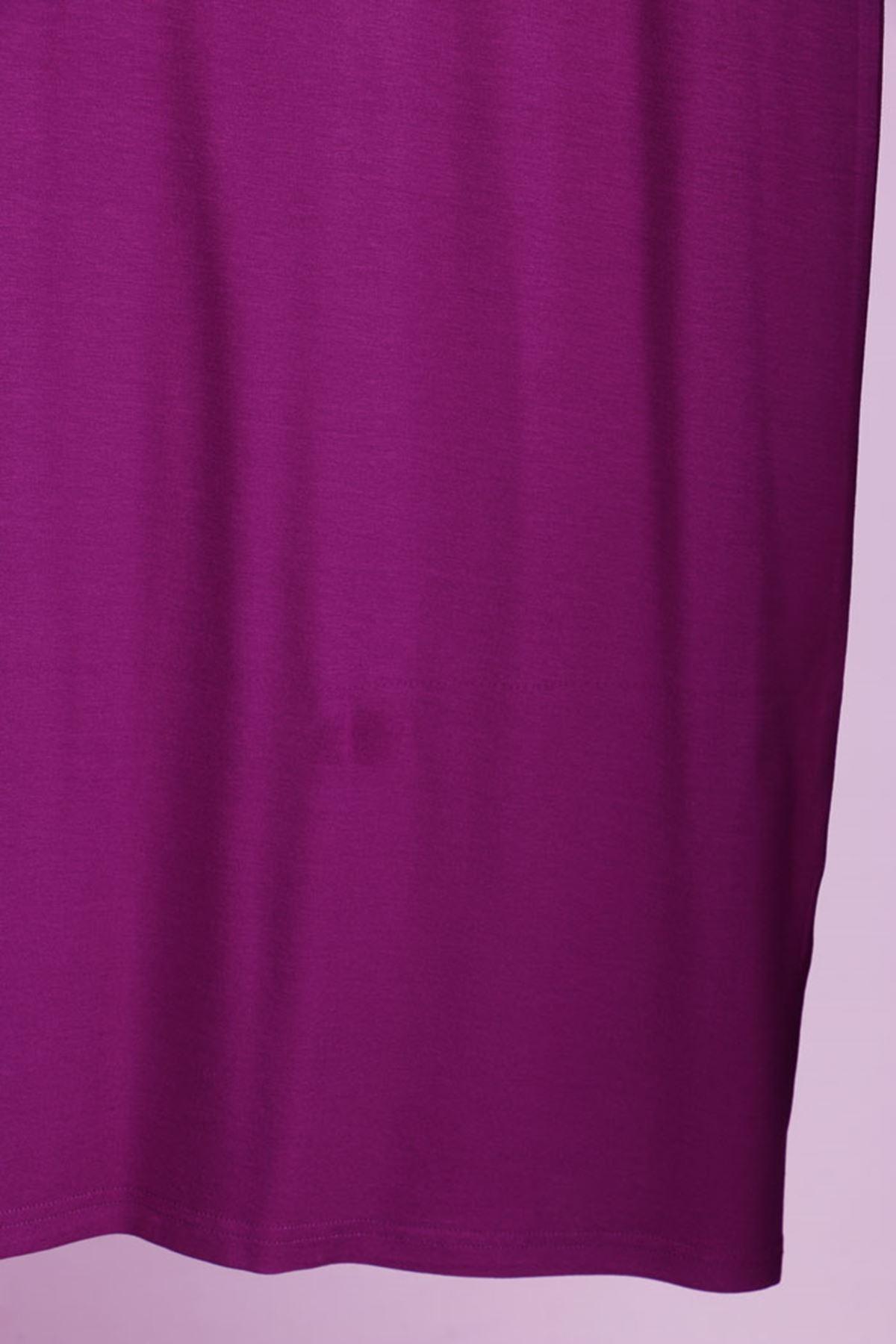 D-17211 Büyük Beden Defolu Taş Baskılı Penye Elbise  - Leylak