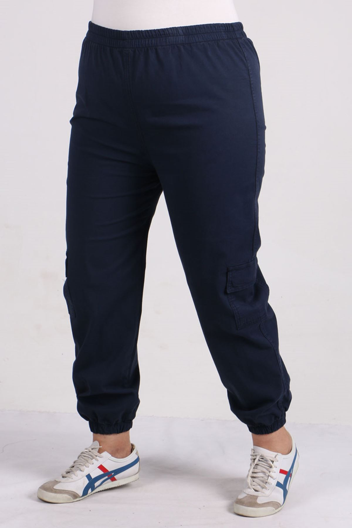 9140 Plus Size Cargo Pants with Pockets - Navy blue