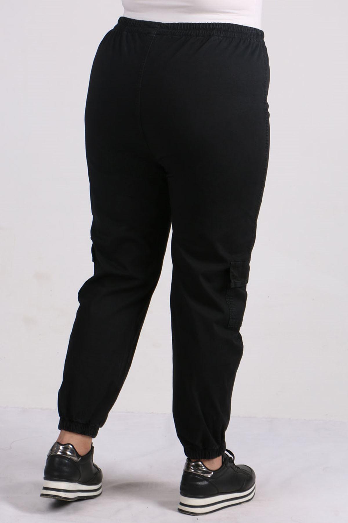 9140 Büyük Beden Kargo Cepli Gabardin Pantolon - Siyah