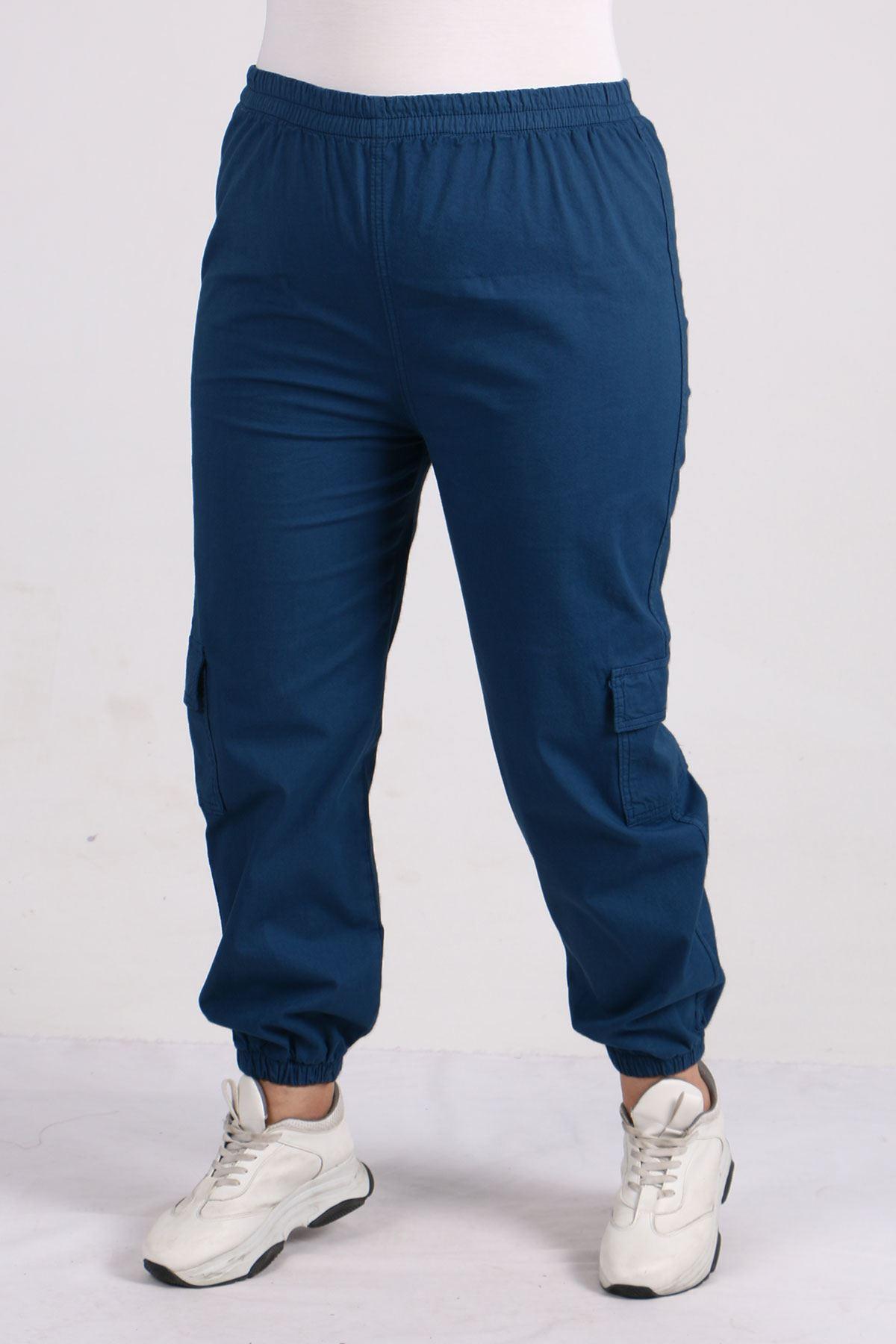 9140 Plus Size Cargo Pants with Pockets - Indigo